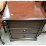 Lot 15 - Mahogany finish 3 drawer bedside cupboard