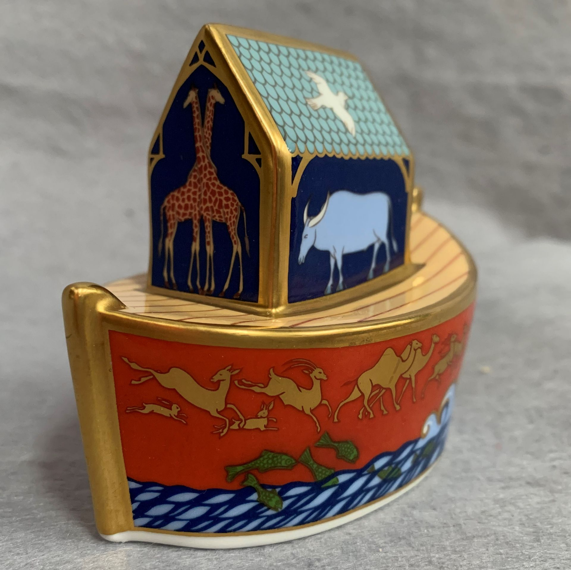 Lot 23 - Royal Crown Derby paperweight modelled as Noah/s Ark,