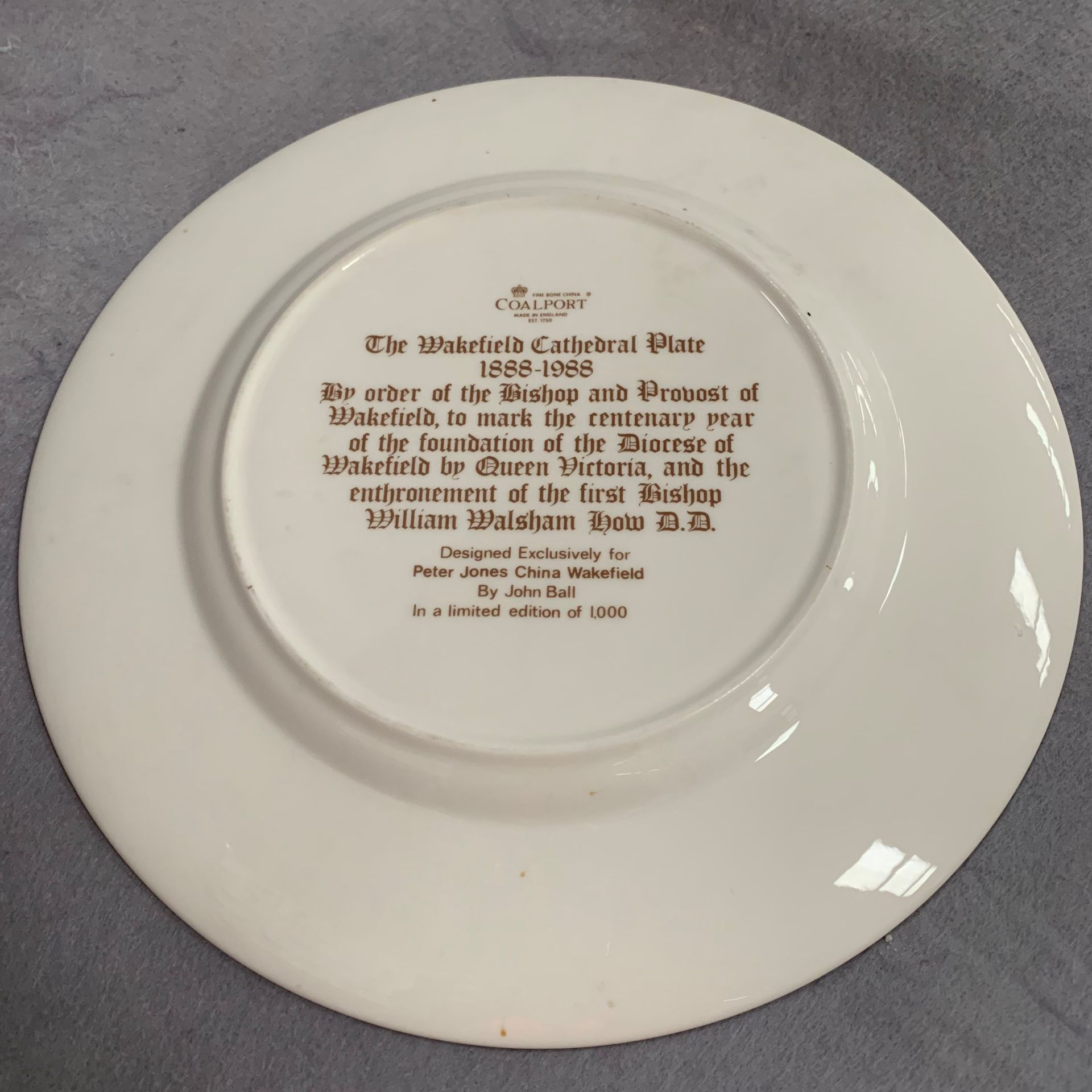 Lot 32 - Coalport 'The Wakefield Cathedral Plate' 1888 to 1988 - limited edition of 1,