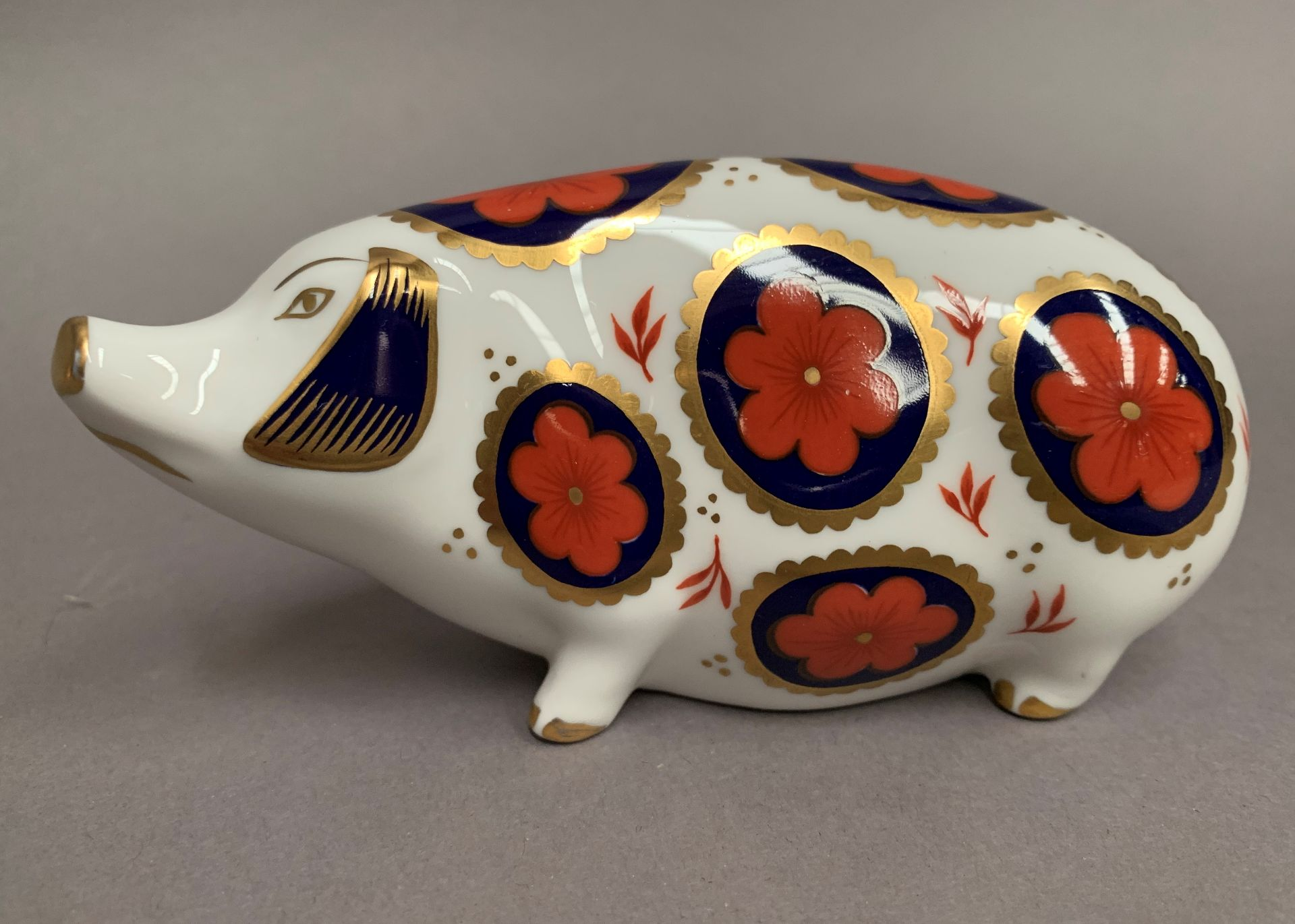 Lot 2 - Royal Crown Derby paperweight modelled as a pig, LIV,