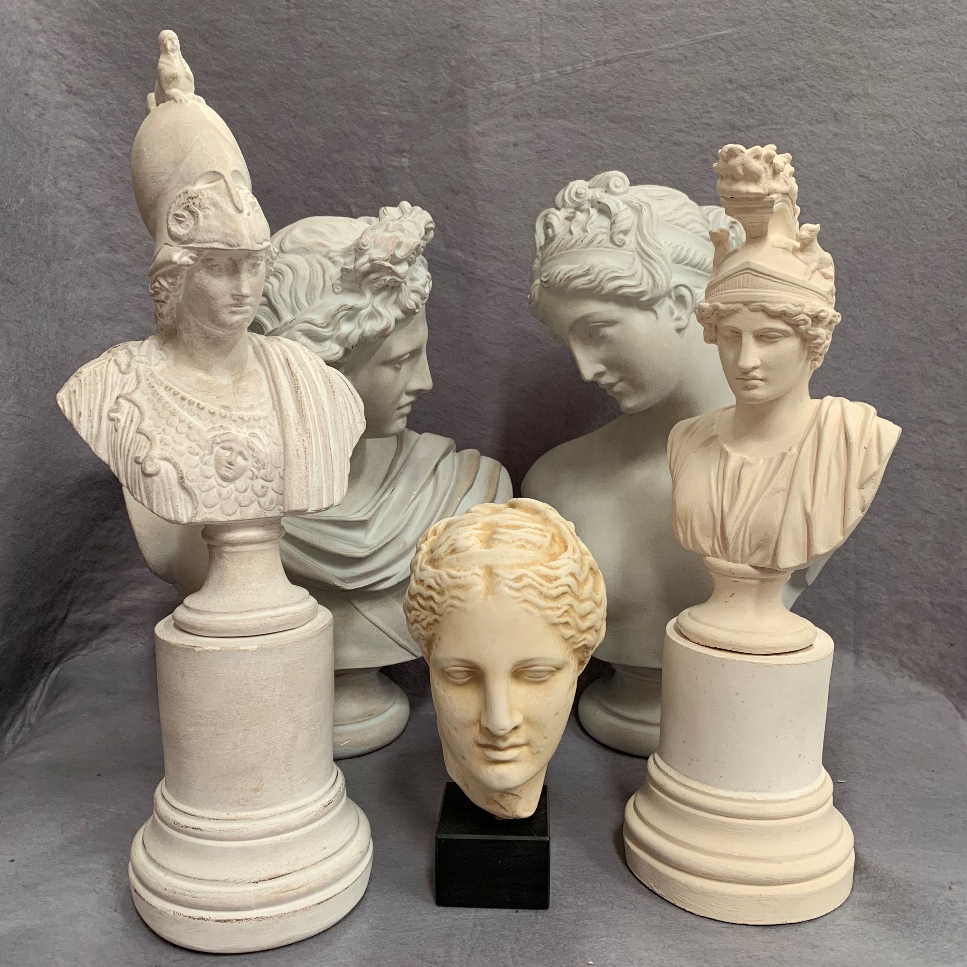Lot 34 - Five plaster classical busts