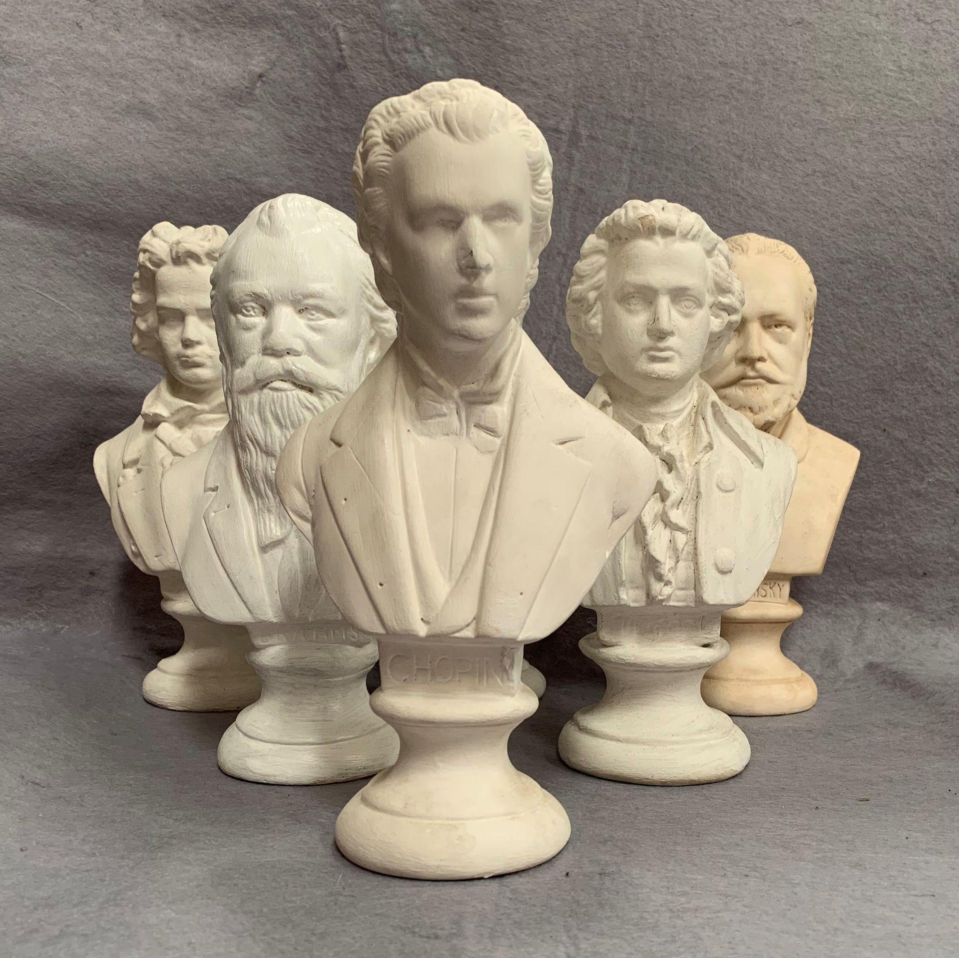 Lot 33 - Six plaster busts of composers including Beethoven, Chopin,