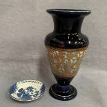Lot 36 - Royal Doulton vase, blue with gilt decoration, stamped to base and marked X5591 27cm high,