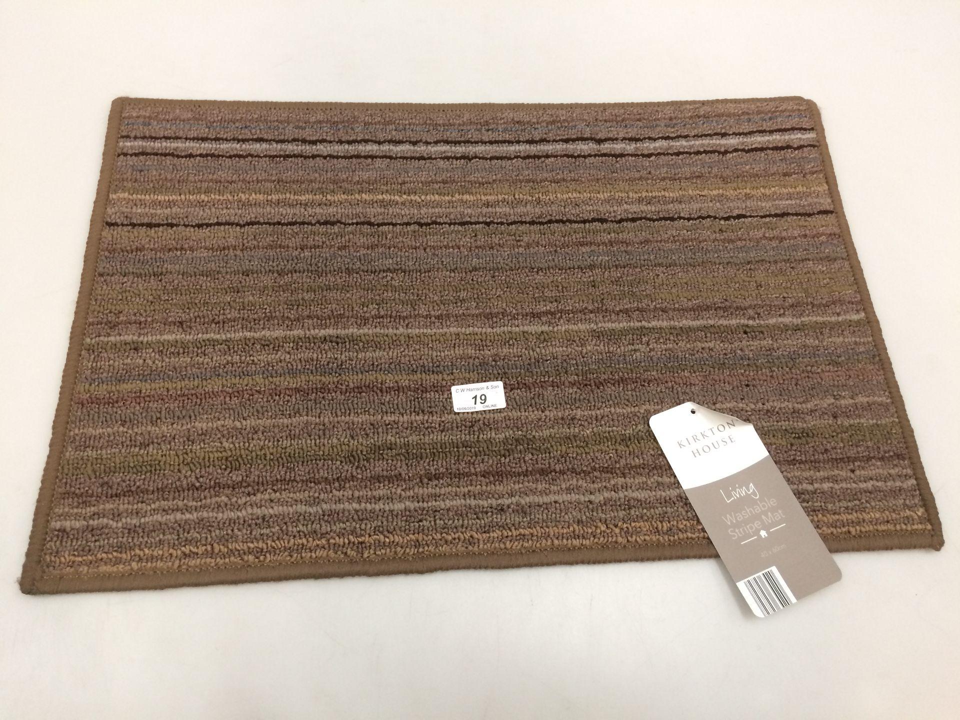 Lot 19 - 10 x Kirkton House brown multi striped washable door mats each 40 x 60cm