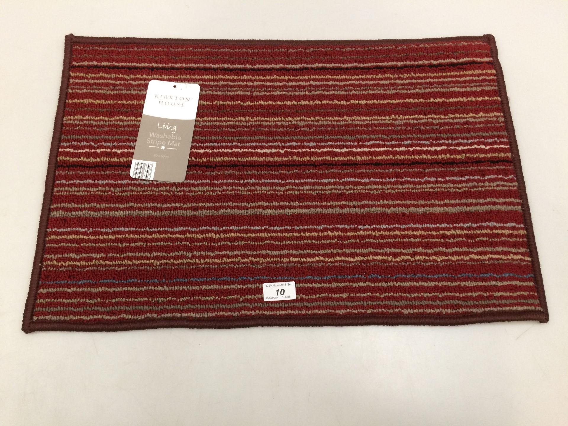 Lot 10 - 10 x Kirkton House multi coloured striped washable door mats each 40 x 60cm