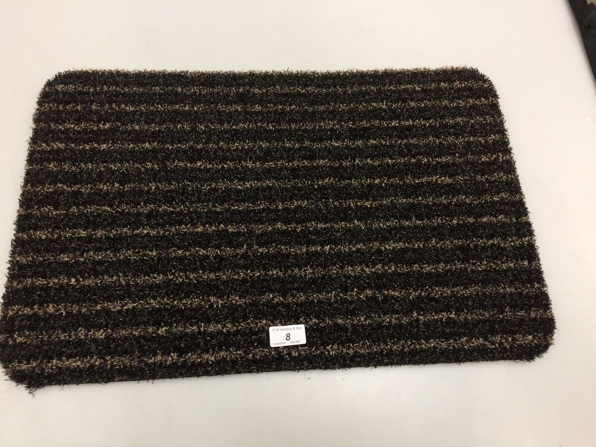 Lot 8 - 10 x black and gold striped door mats with rubber anti-slip inlay each 40 x 60cm