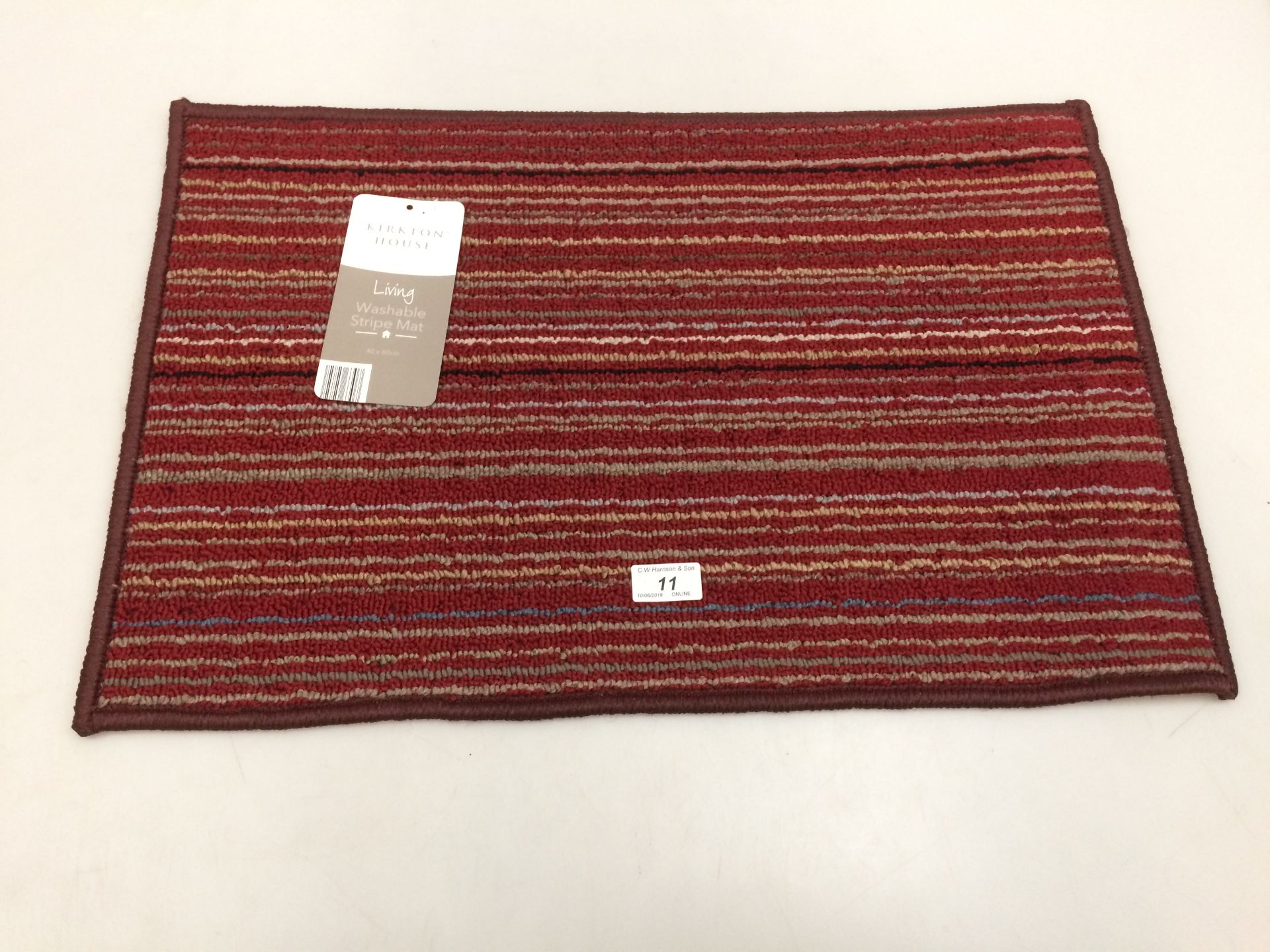 Lot 11 - 10 x Kirkton House multi coloured striped washable door mats each 40 x 60cm
