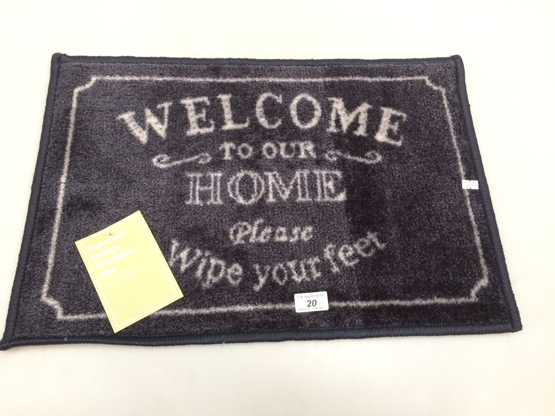 Lot 20 - 10 x 'Welcome to your Home' supersoft design washable door mats each 40 x 58cm