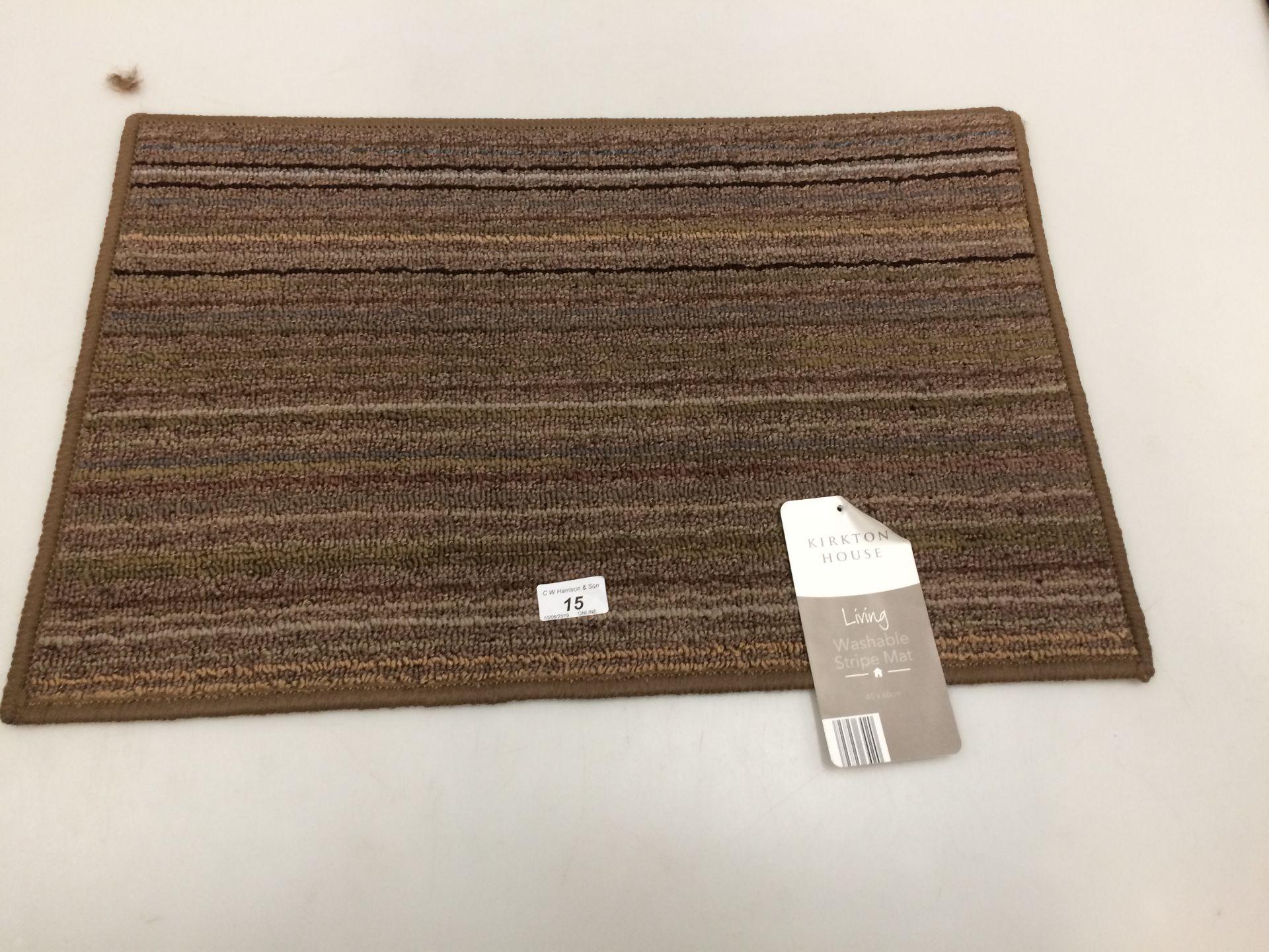 Lot 15 - 10 x Kirkton House brown multi striped washable door mats each 40 x 60cm