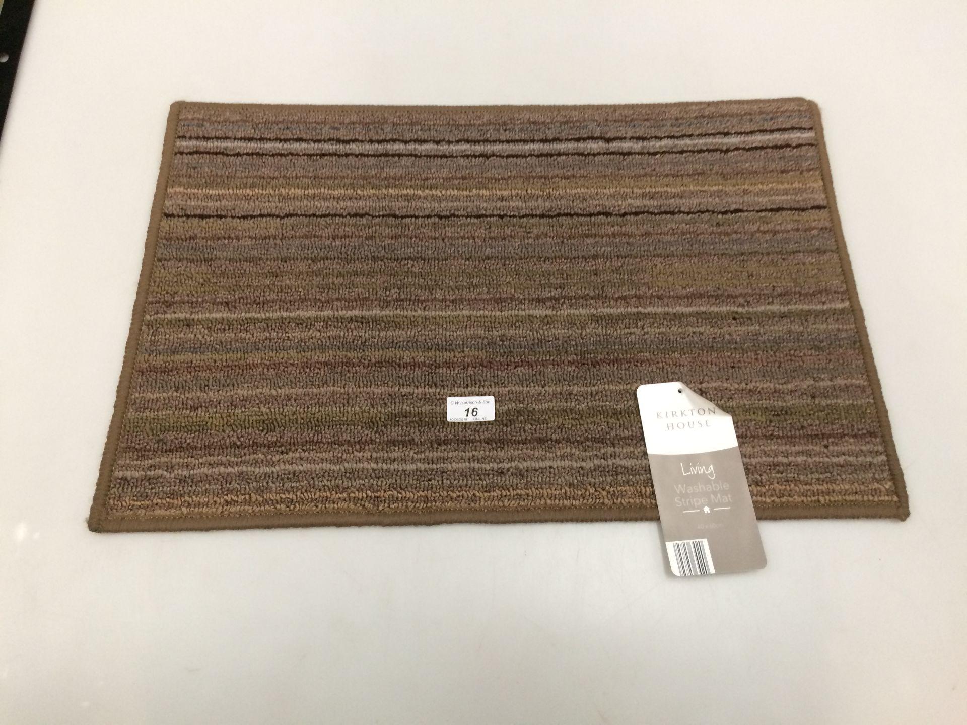Lot 16 - 10 x Kirkton House brown multi striped washable door mats each 40 x 60cm