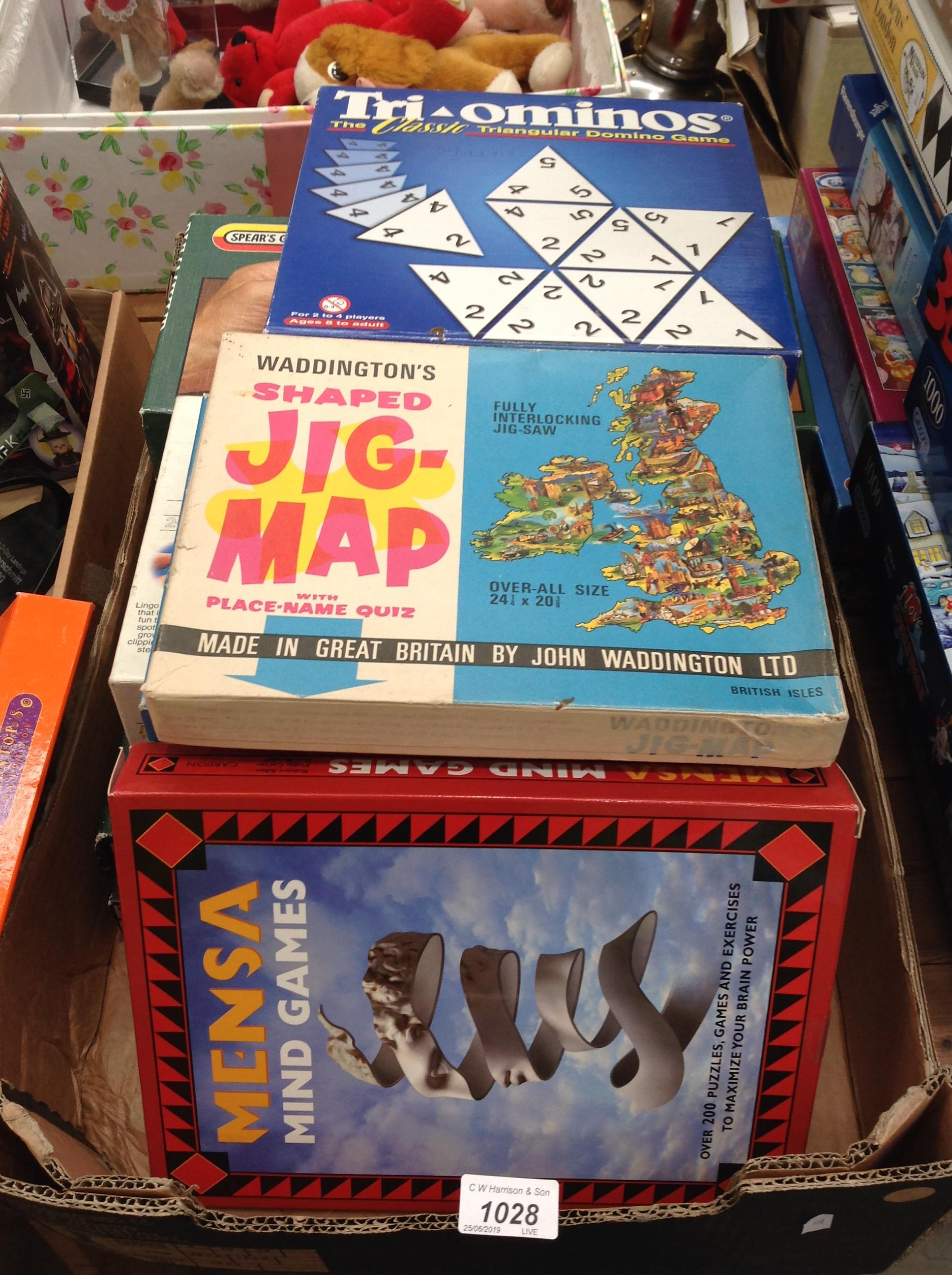 Lot 1028 - Contents to tray - quantity of assorted boxed games - Monopoly (Yorkshire Edition), Mastermind,