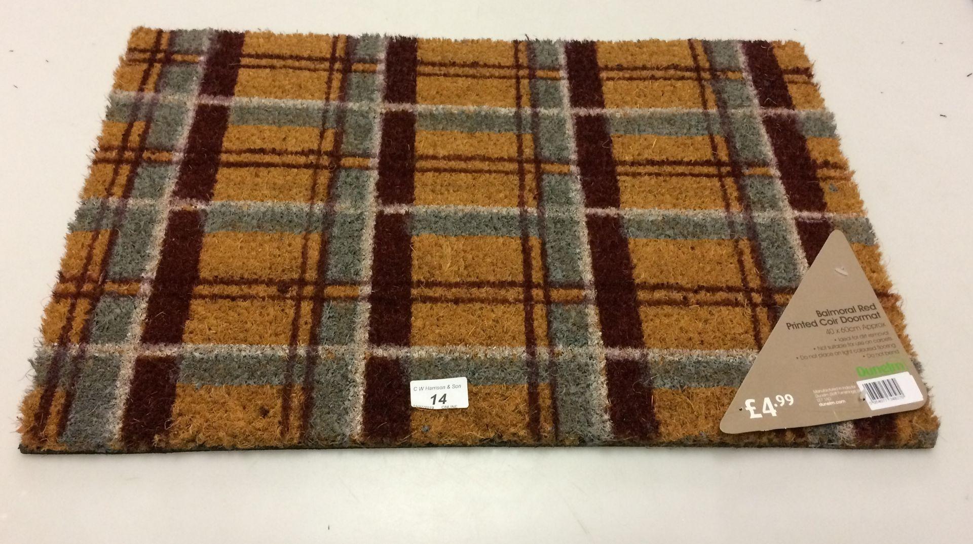 Lot 14 - 20 x Dunelm Balmoral red printed coir door mats 40 x 60cm