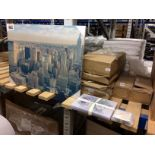 Lot 9 - Contents to part of rack - New York day canvas prints 57 x 77cm, lady bird place mats, coasters,