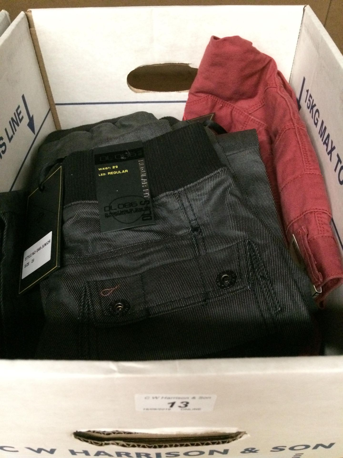 "Lot 13 - 2 x pairs of black denim style trousers by DL 086 waist size 29"" and 5 x pairs of rust coloured"