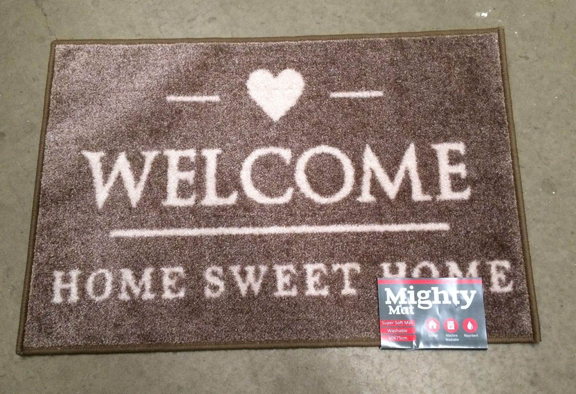 Lot 3 - 6 x Supersoft washable beige 'Welcome' door mats each 50 x 75cm