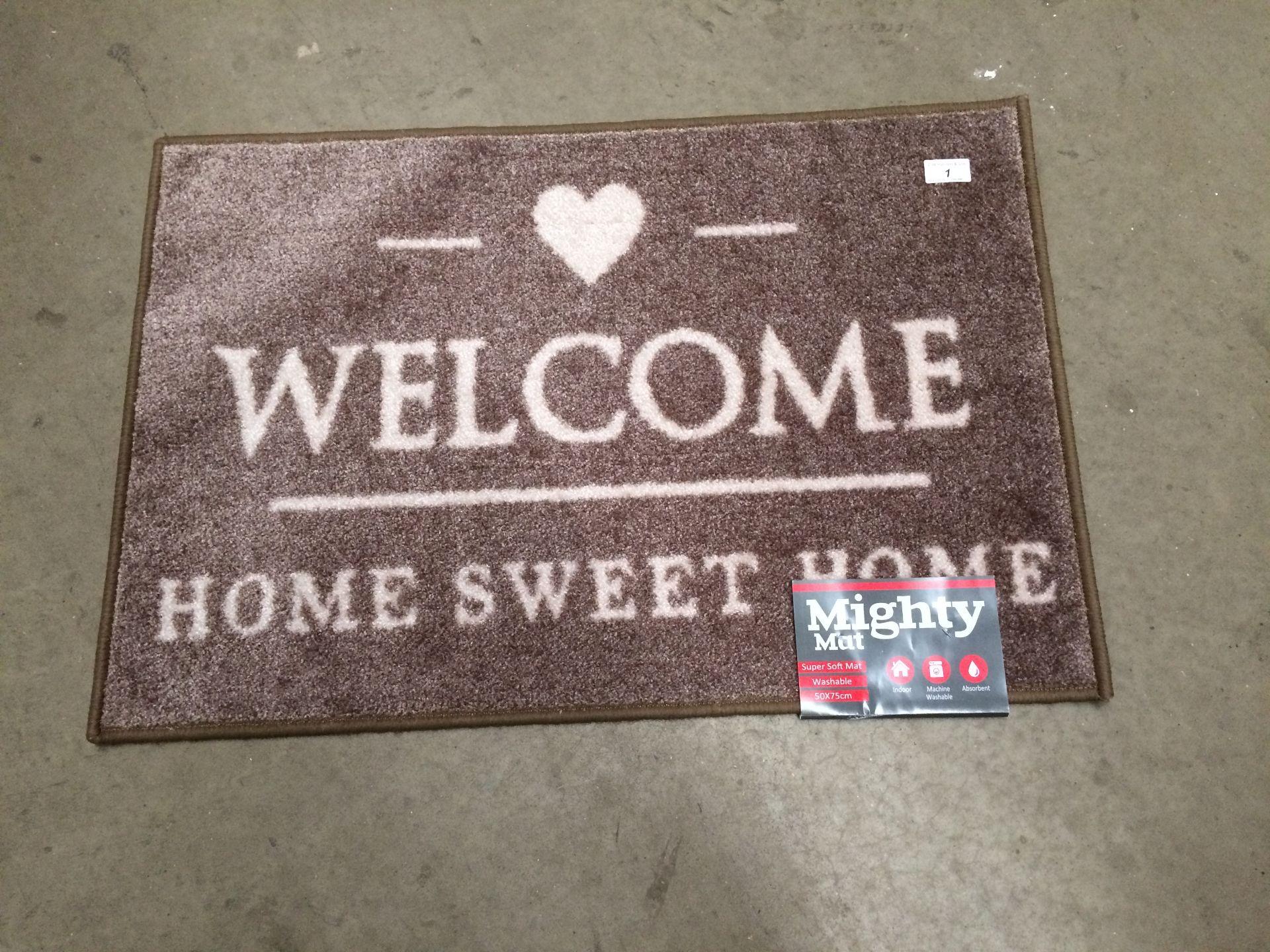 Lot 1 - 6 x Supersoft washable beige 'Welcome' door mats each 50 x 75cm