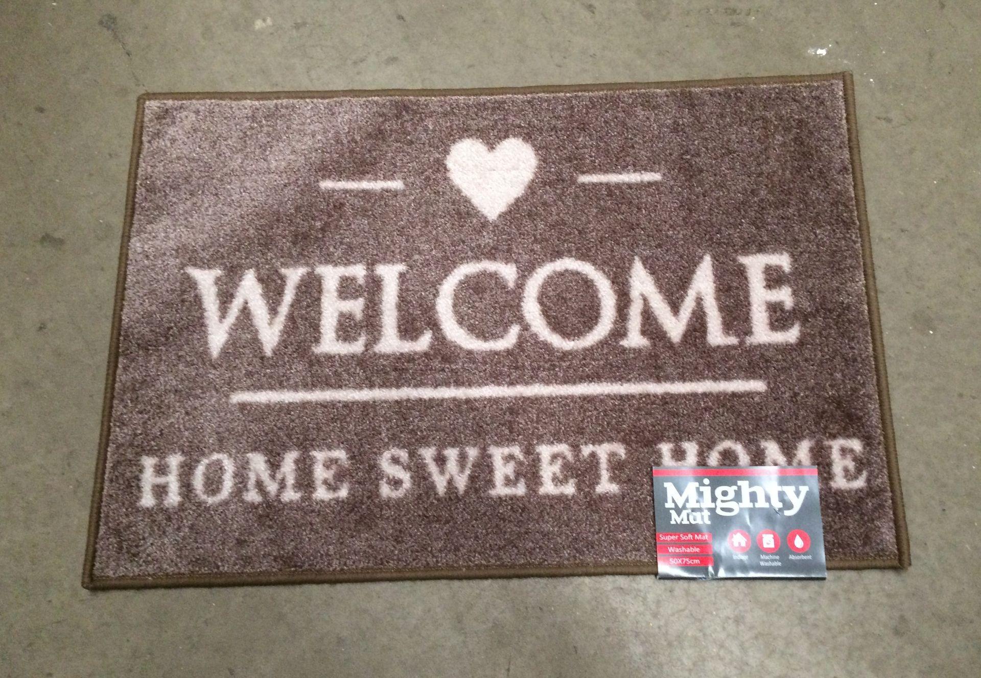 Lot 2 - 6 x Supersoft washable beige 'Welcome' door mats each 50 x 75cm