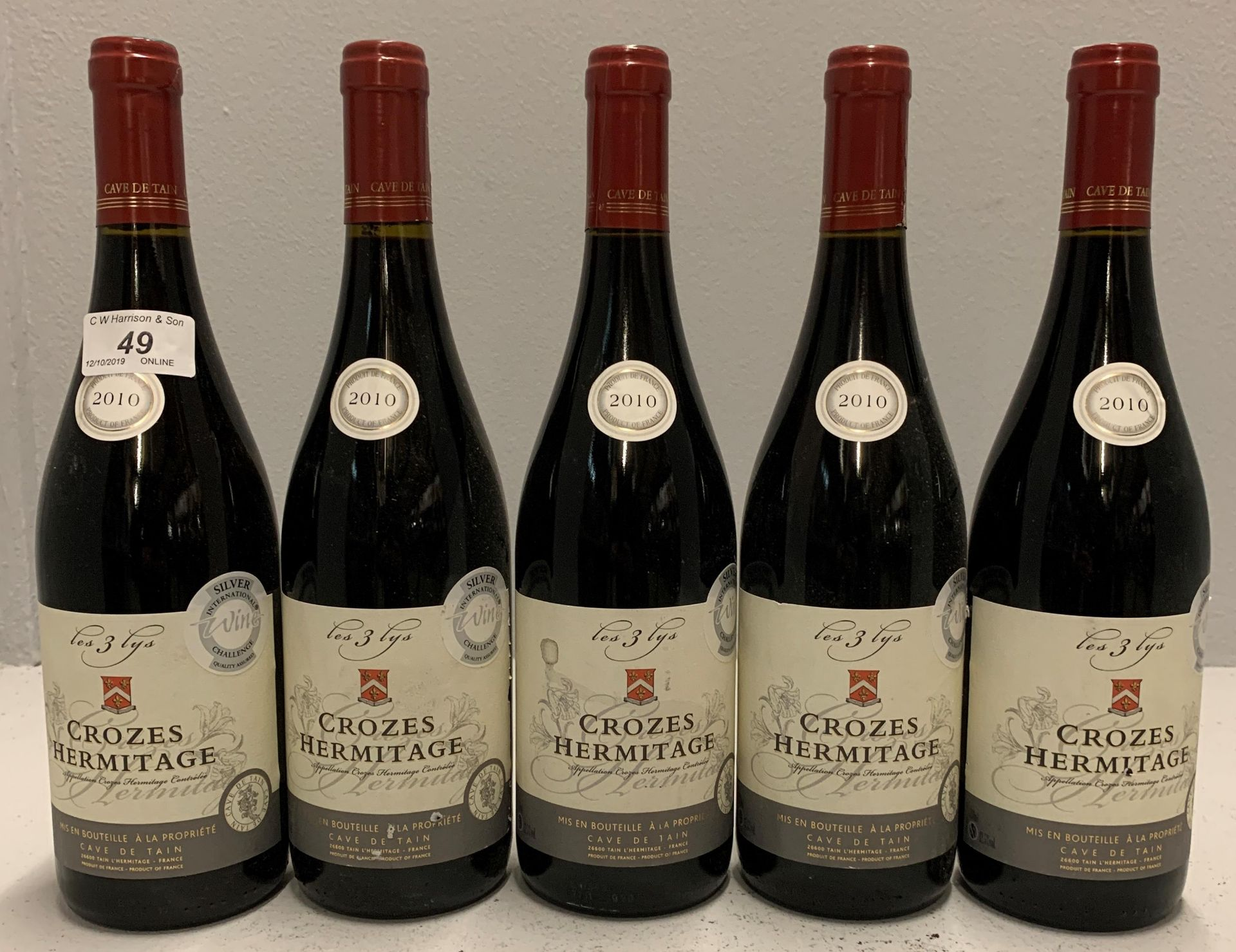 Lot 49 - 5 x 750ml bottles Crozes Hermitage - 201