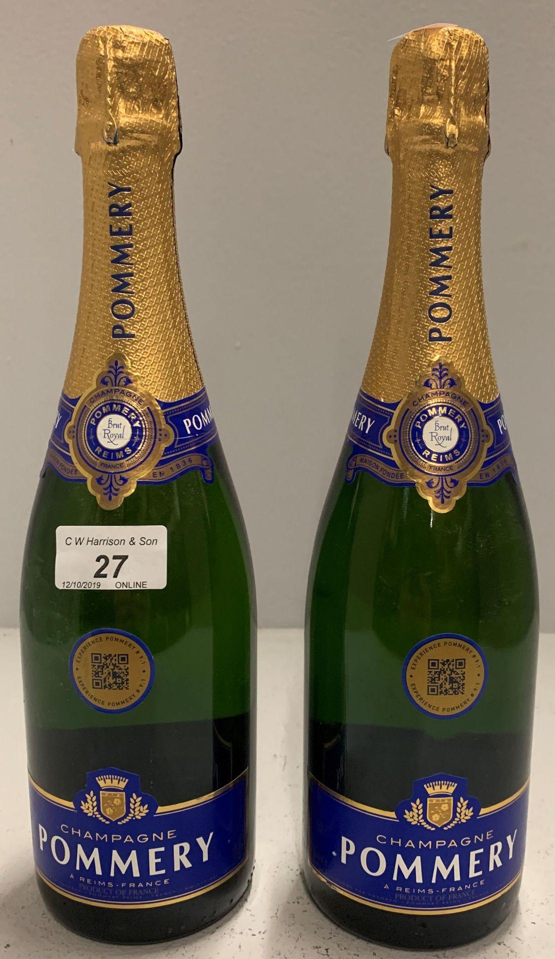 Lot 27 - 2 x 750ml bottles Pommery Champagne