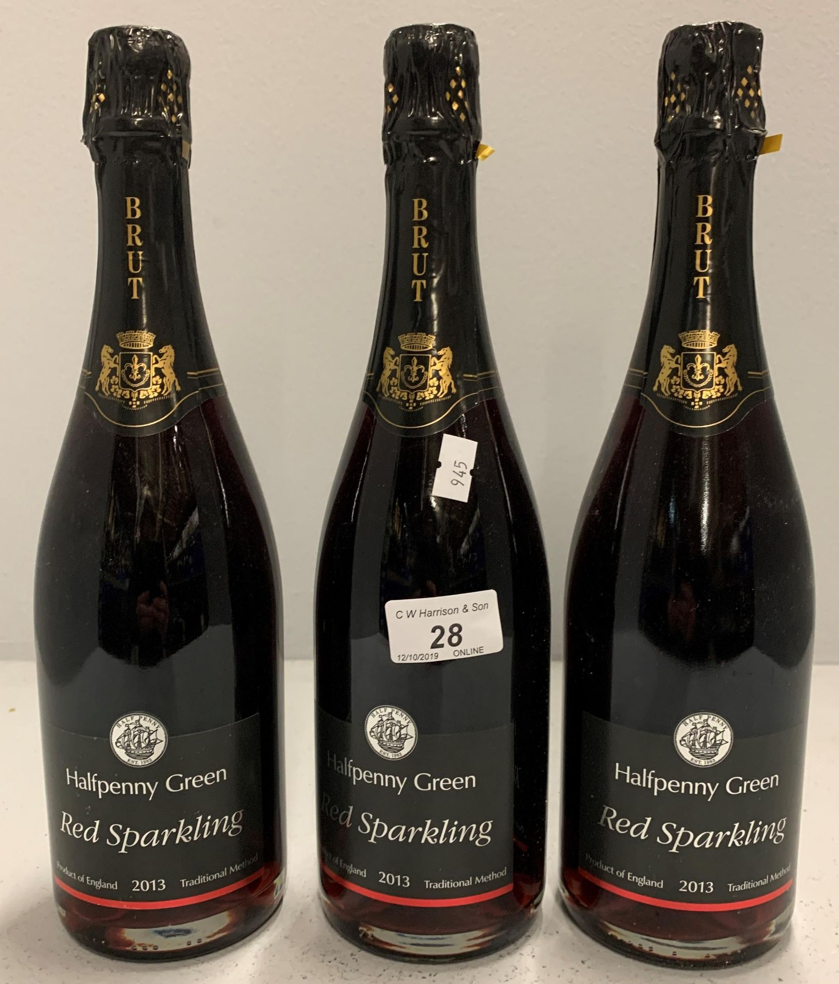 Lot 28 - 3 x 75cl bottles Half Penny Green Red Sp