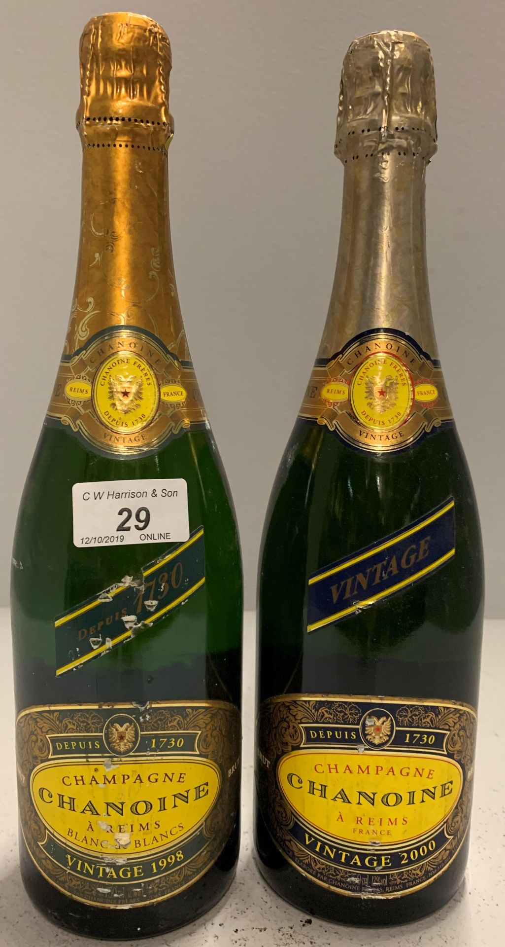 Lot 29 - 2 x 75cl bottles Chanoine Champagne vint