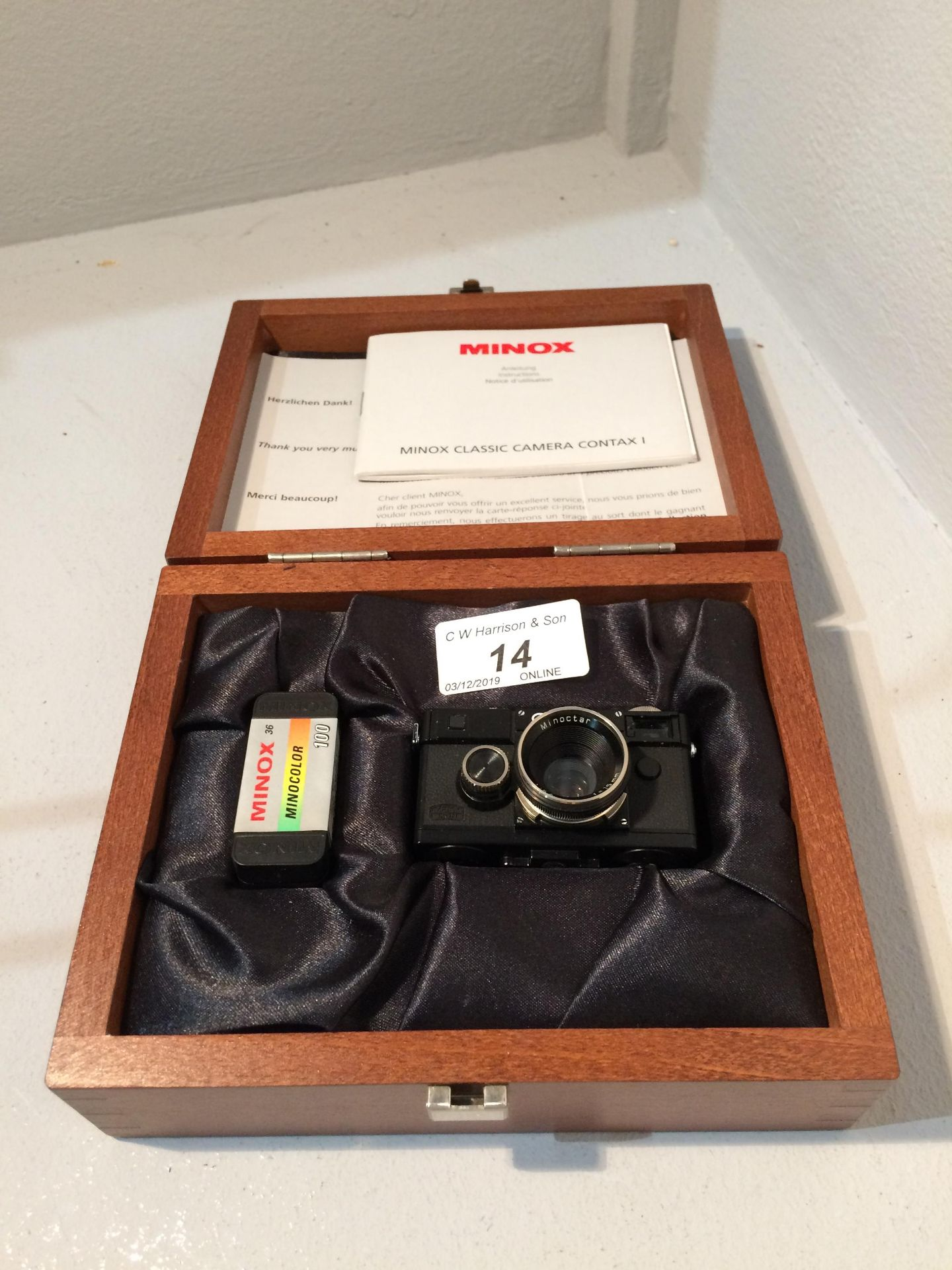 Lot 14 - Minox Camera Collections miniature Contax KM0295 camera, Minoctar 1..5.