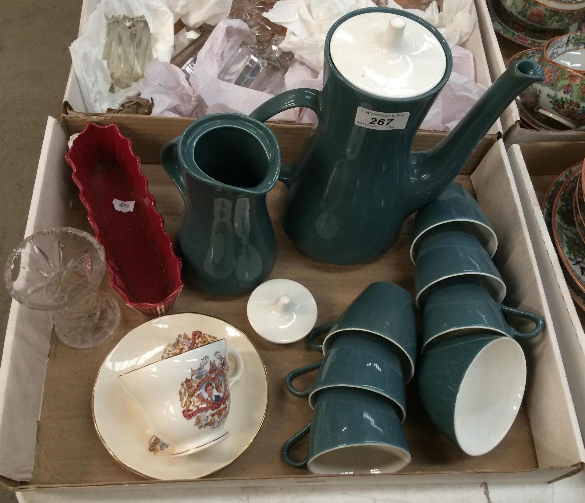 Lot 267 - Poole Pottery coffee pot, milk jug,
