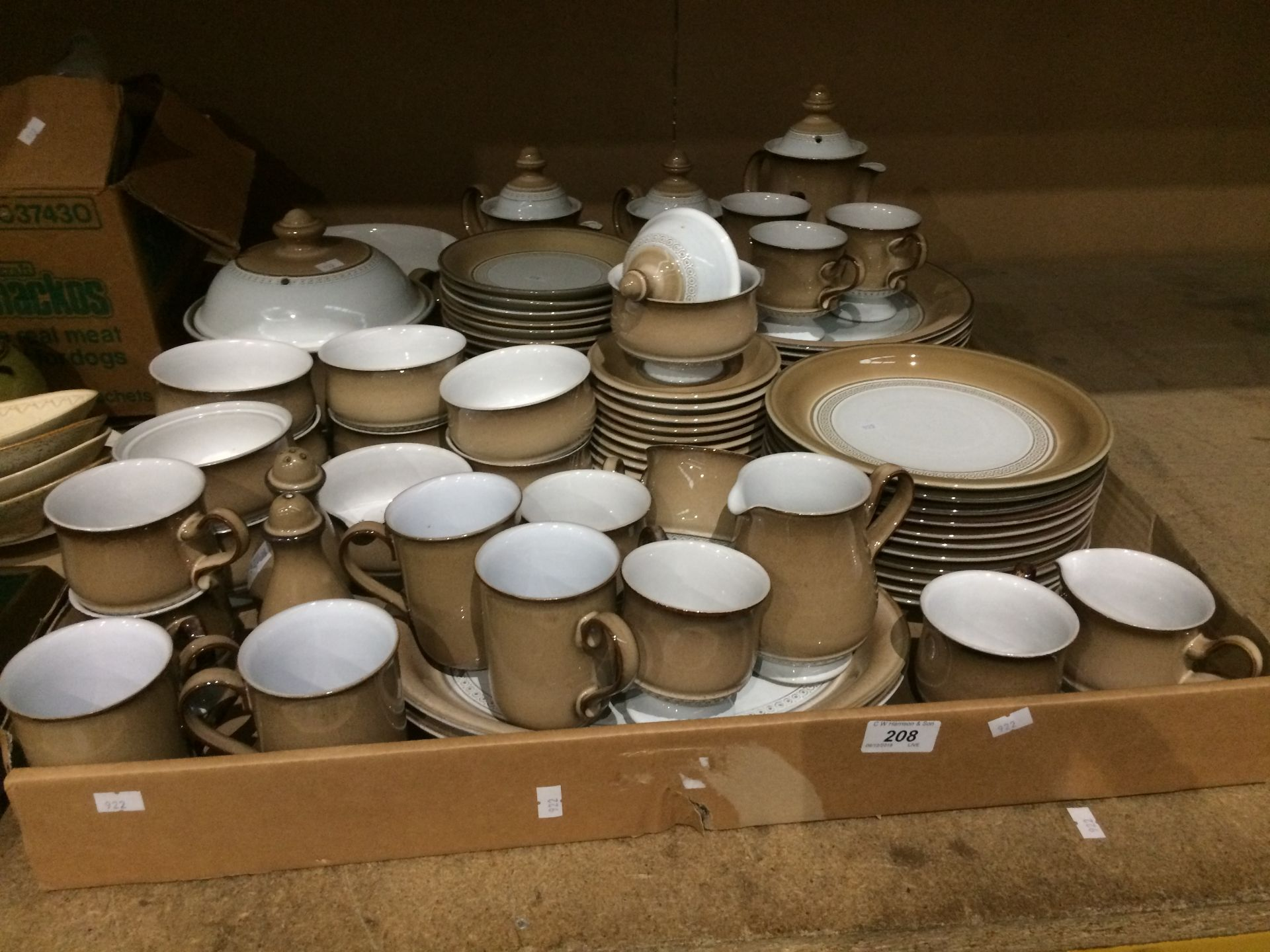 Lot 208 - An extensive part dinner service by Denby light brown and white glazed dinner service - coffee pots,