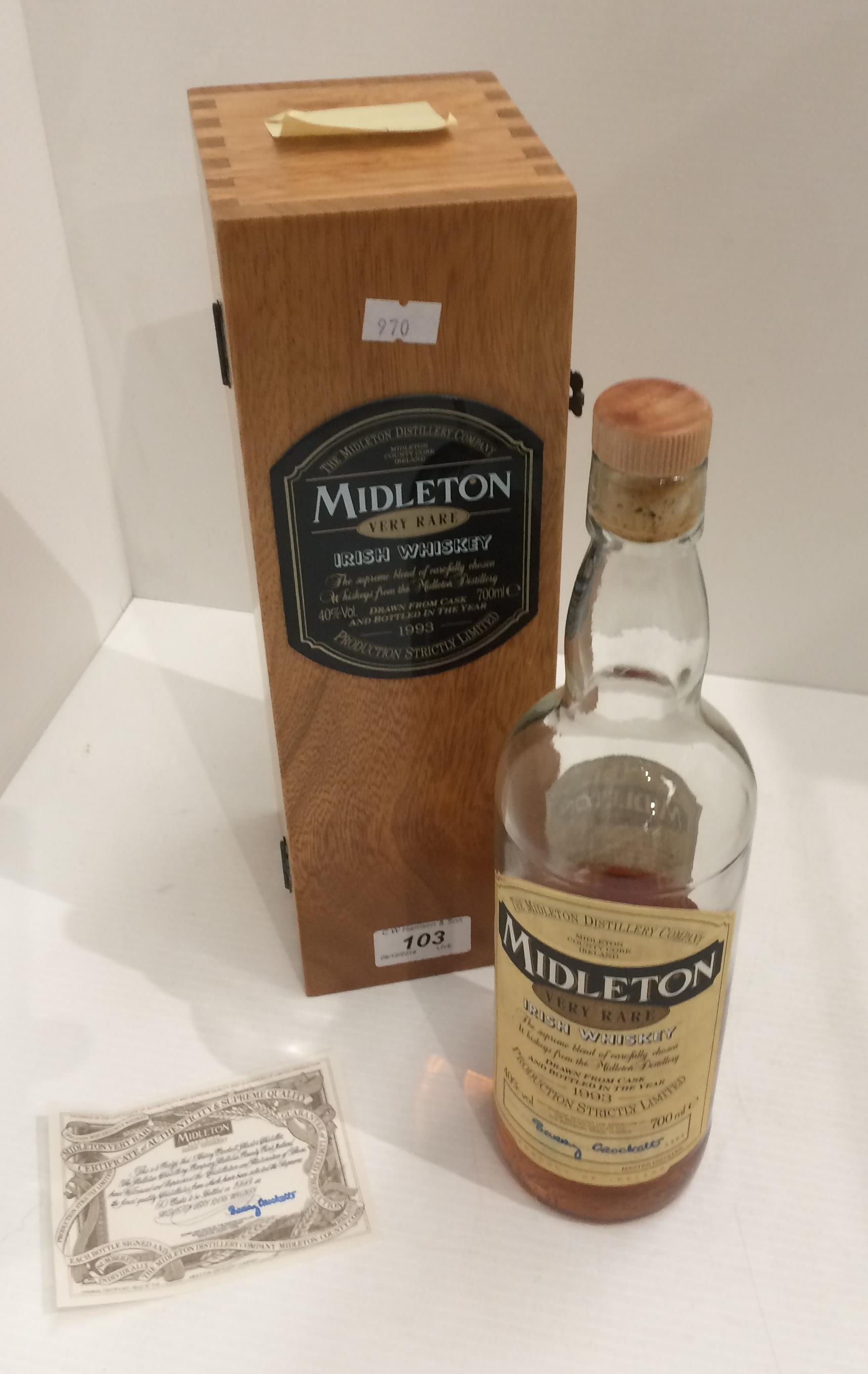 Lot 103 - A part bottle of Middleton Very Rare Irish Whiskey bottled in the year 1993,