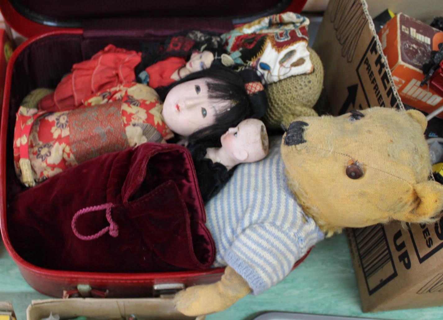 Lot 21 - Porcelain head plus other costume dolls and bears plus various plastic figures