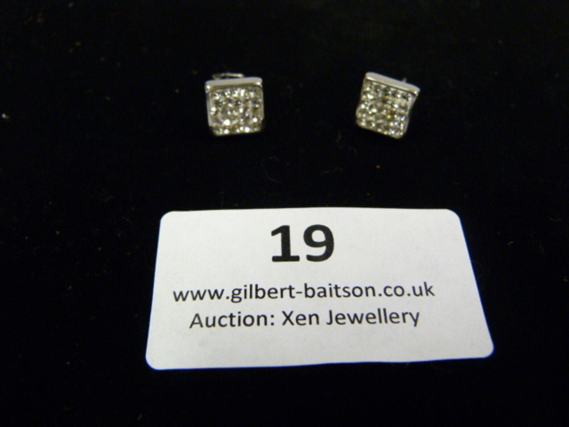 Lot 19 - *Pair of Coeur de Lion Square CZ Earrings