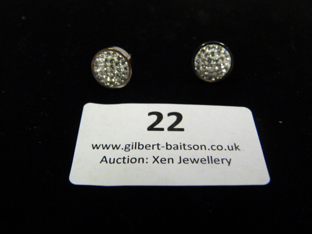 Lot 22 - *Pair of Coeur de Lion Round CZ Earrings
