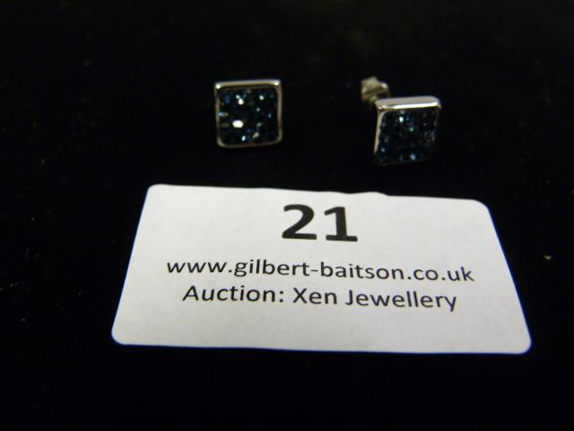 Lot 21 - *Pair of Coeur de Lion Square Blue CZ Earrings