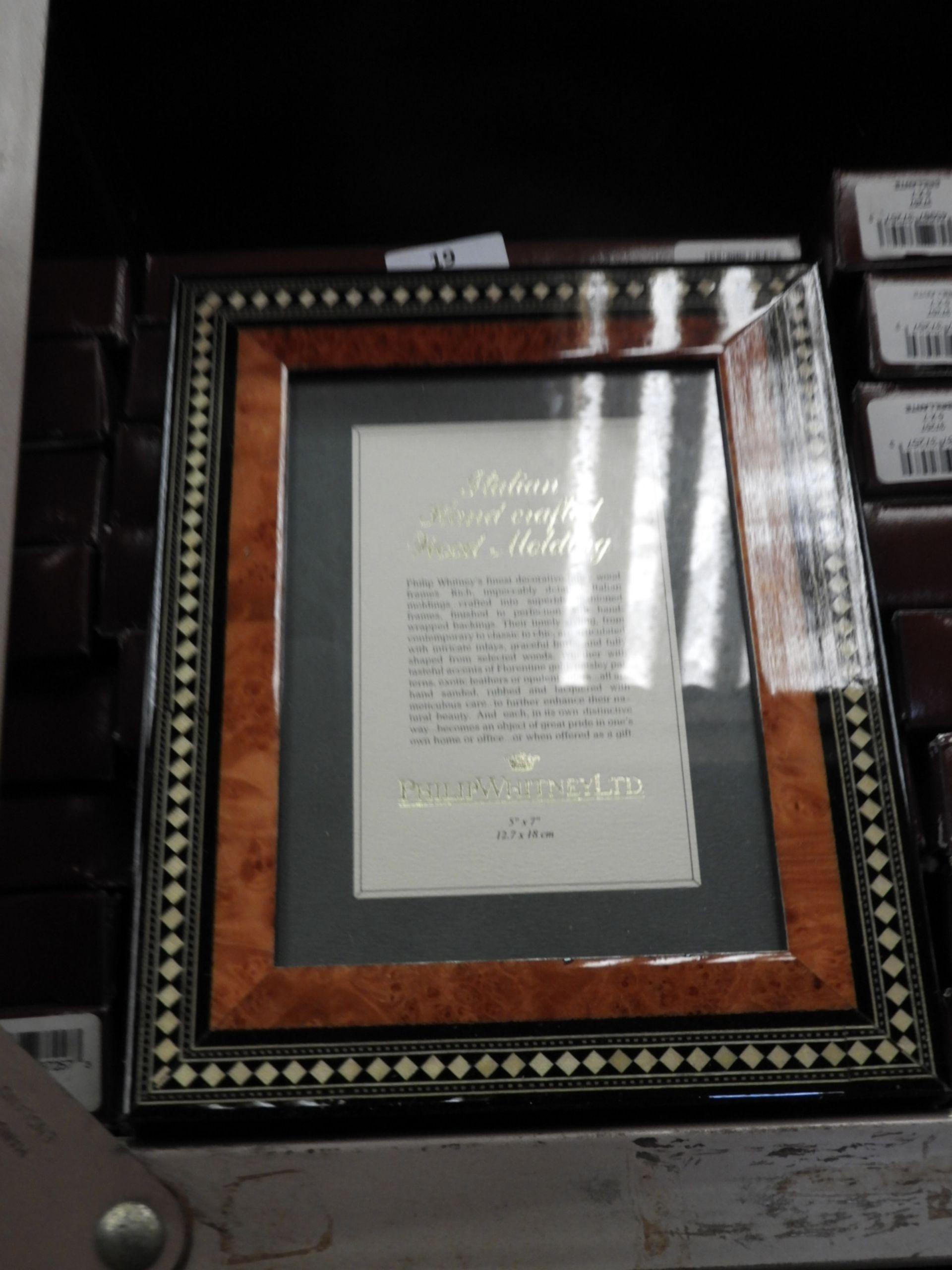 Lot 19 - Eight 5x7 Inlaid Italian Style Photo Frames