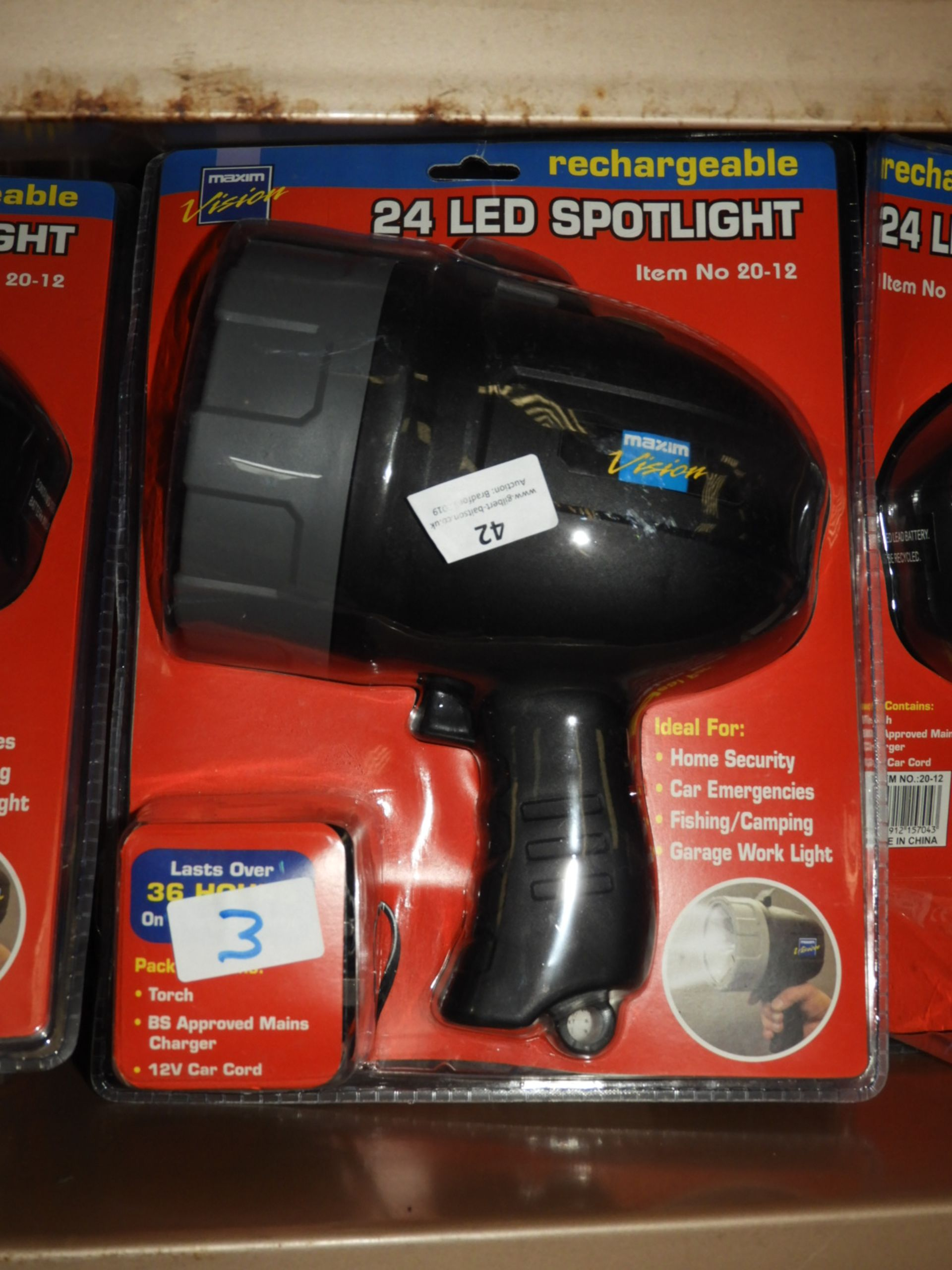 Lot 42 - Three 24 LED Rechargeable Spotlights