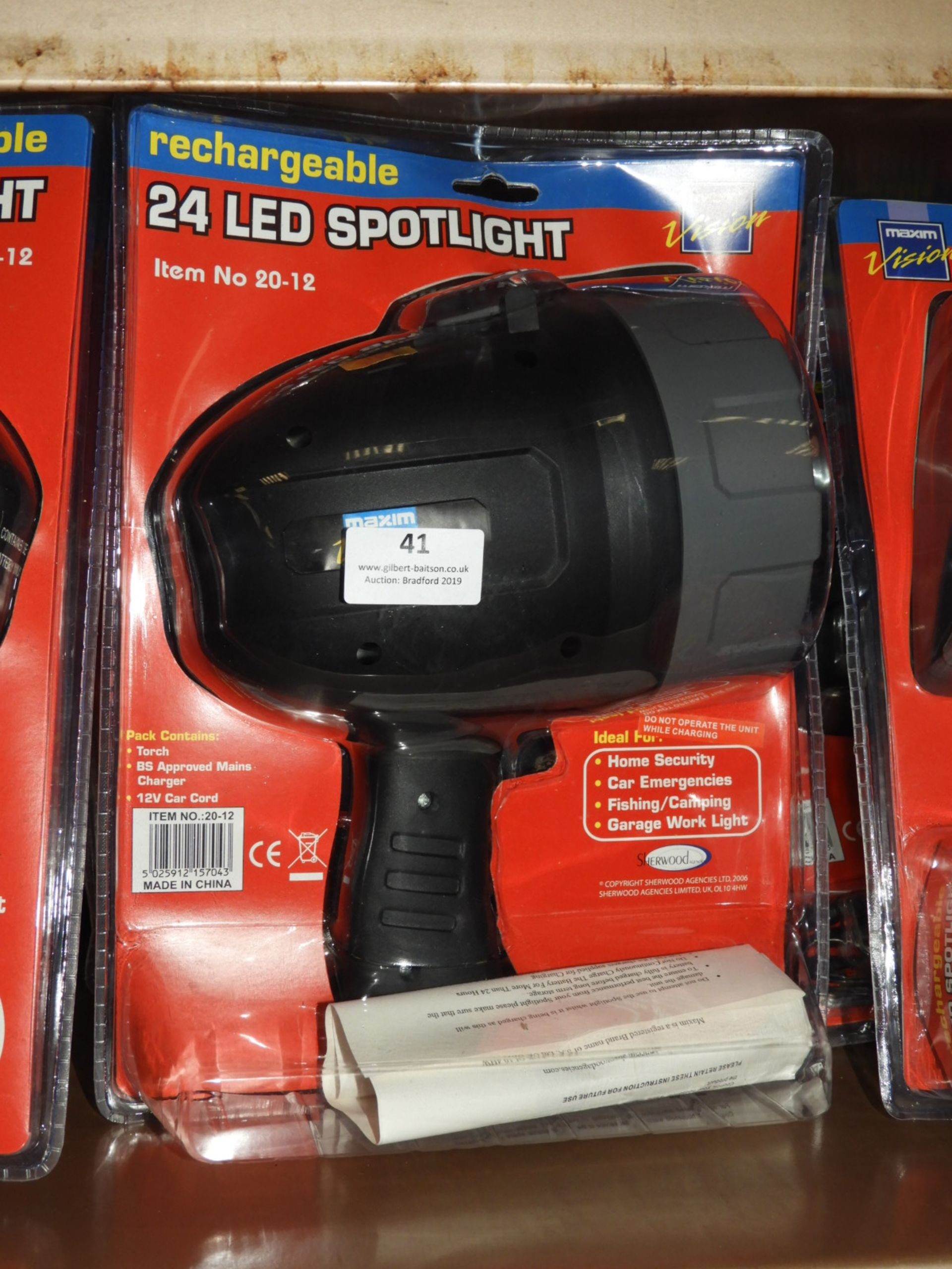 Lot 41 - Three 24 LED Rechargeable Spotlights