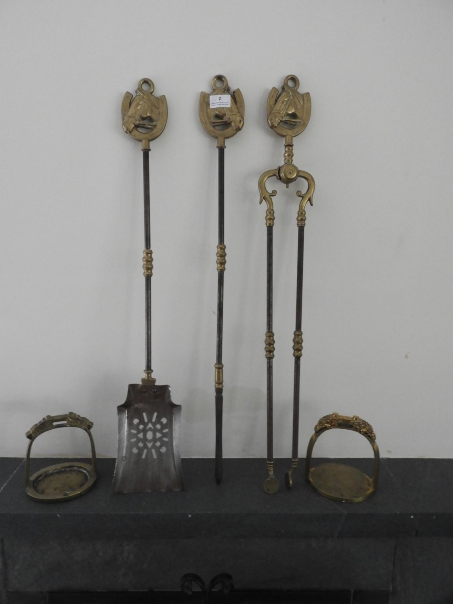 Lot 2 - *Set of Brass Fire Tools