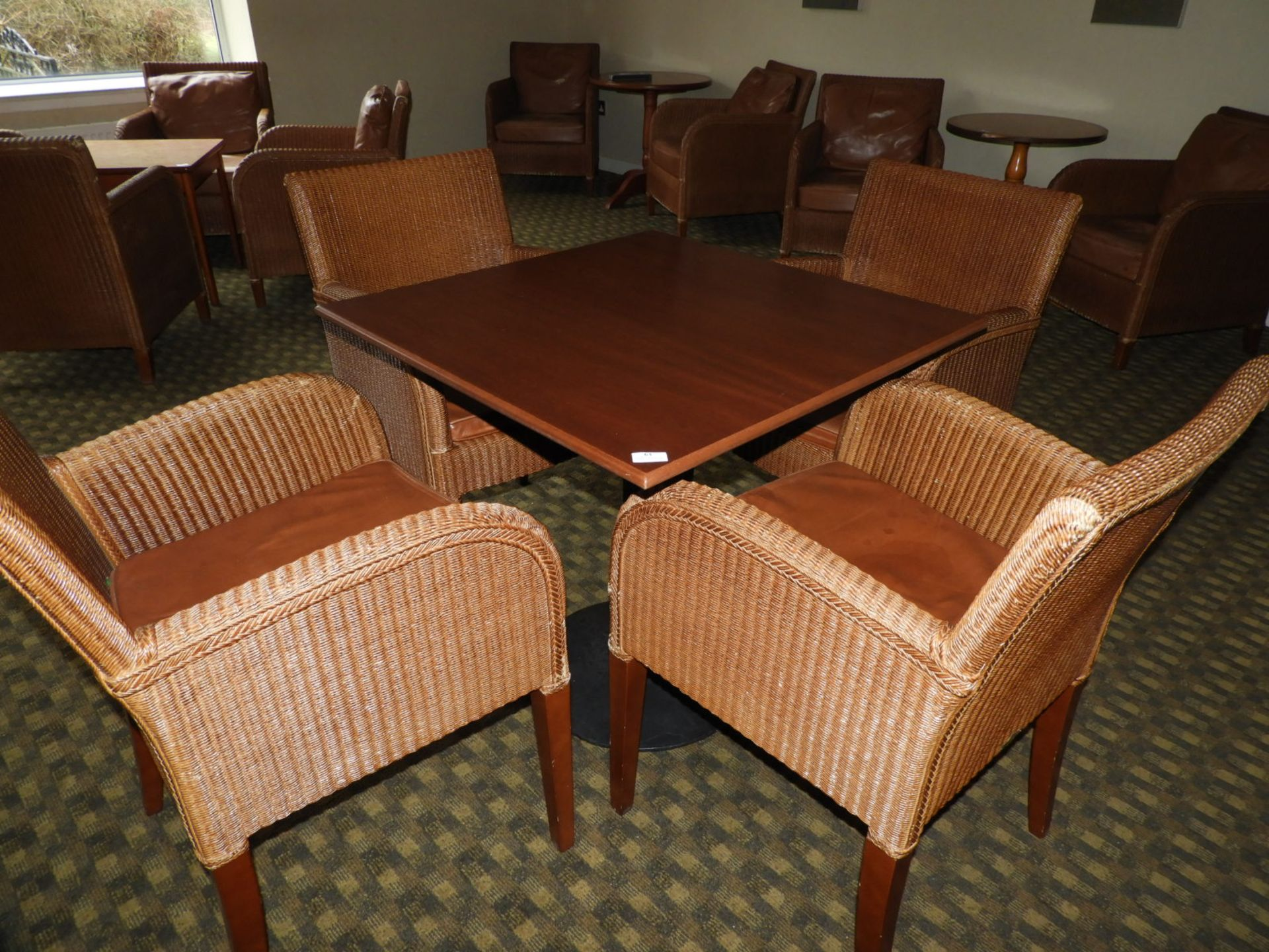 Lot 63 - *Set of Four Rattan Dining Chairs with Faux Leathe