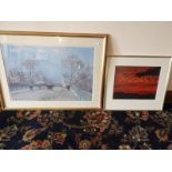 Lot 11 - *Gilt Framed Print by Camille Pissarro (1871) and a Framed Print - Birds at Sunset