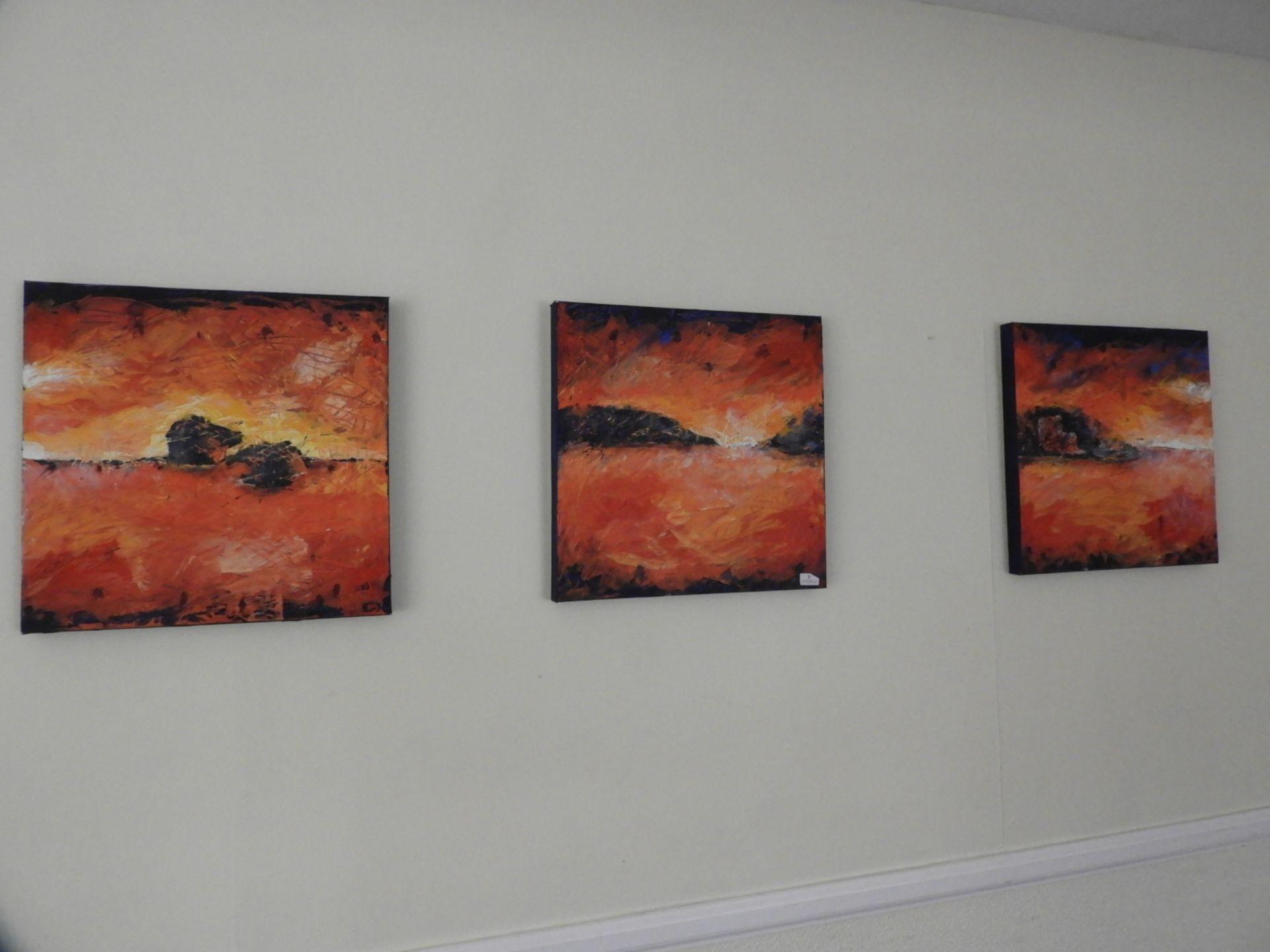 Lot 3 - *Set of Unframed Oils on Canvas - Triptych of Loch Leven
