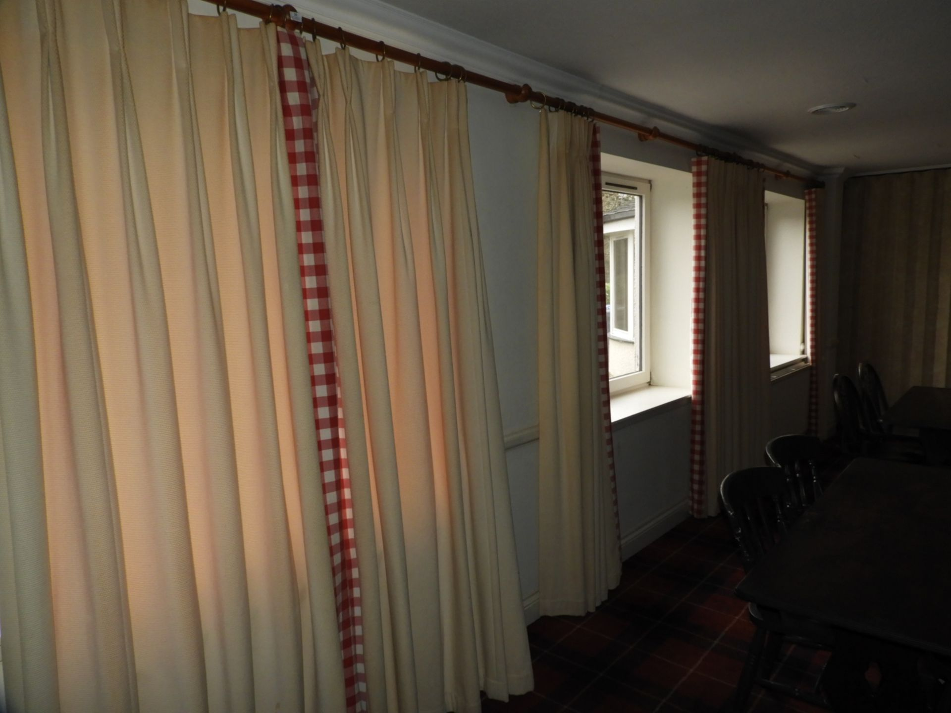 Lot 19 - *Four Pairs of Curtains with Wood Poles (Each Curt