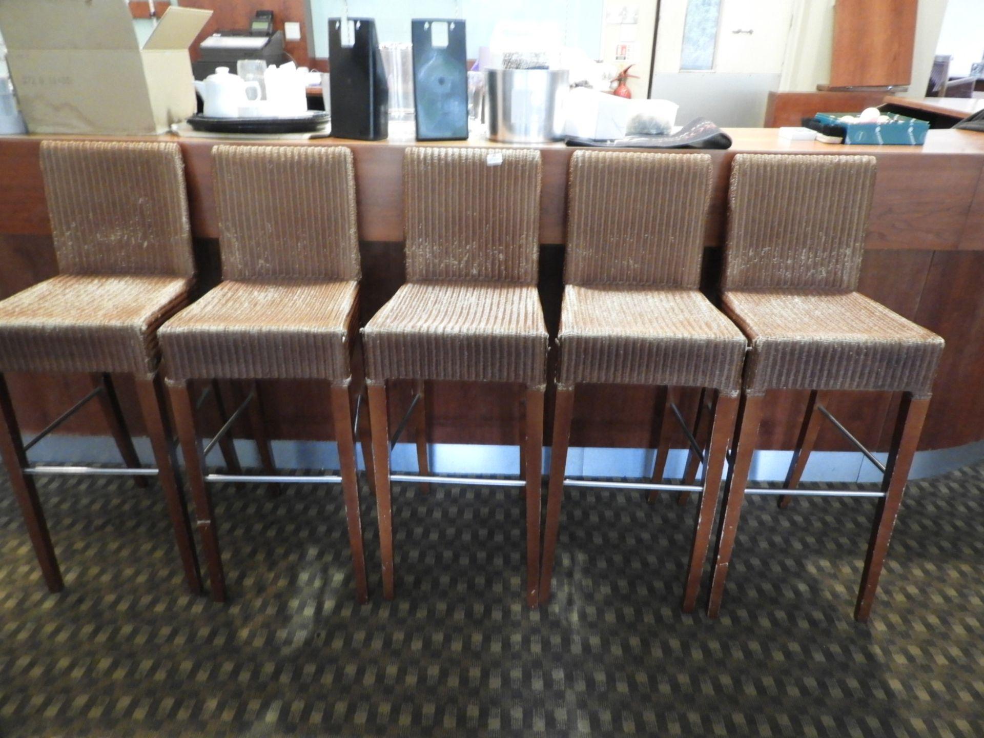 Lot 62 - *Five Rattan High Seat Barstools