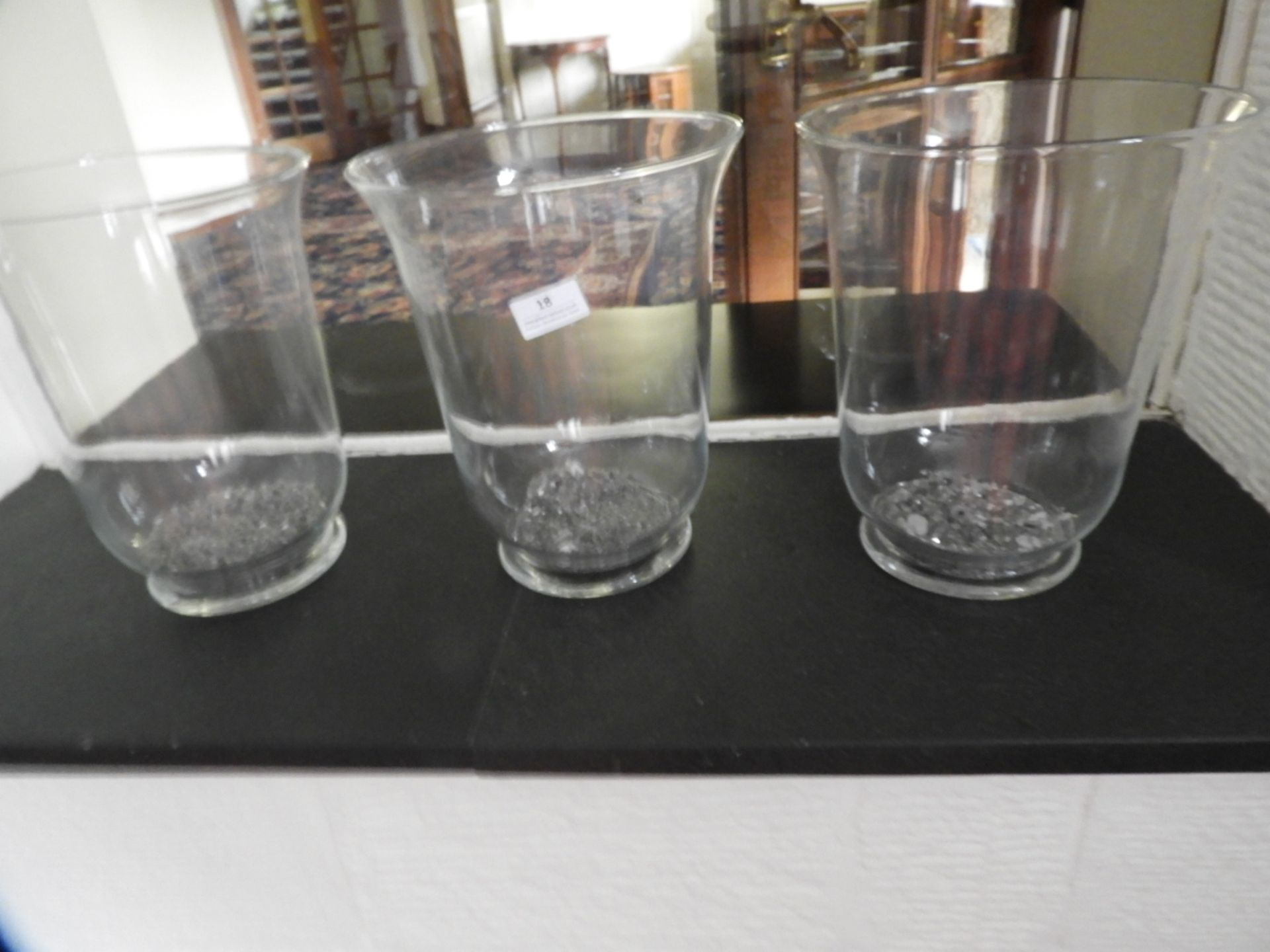 Lot 18 - *Three Glass Vases/Candle Holders 18cm tall