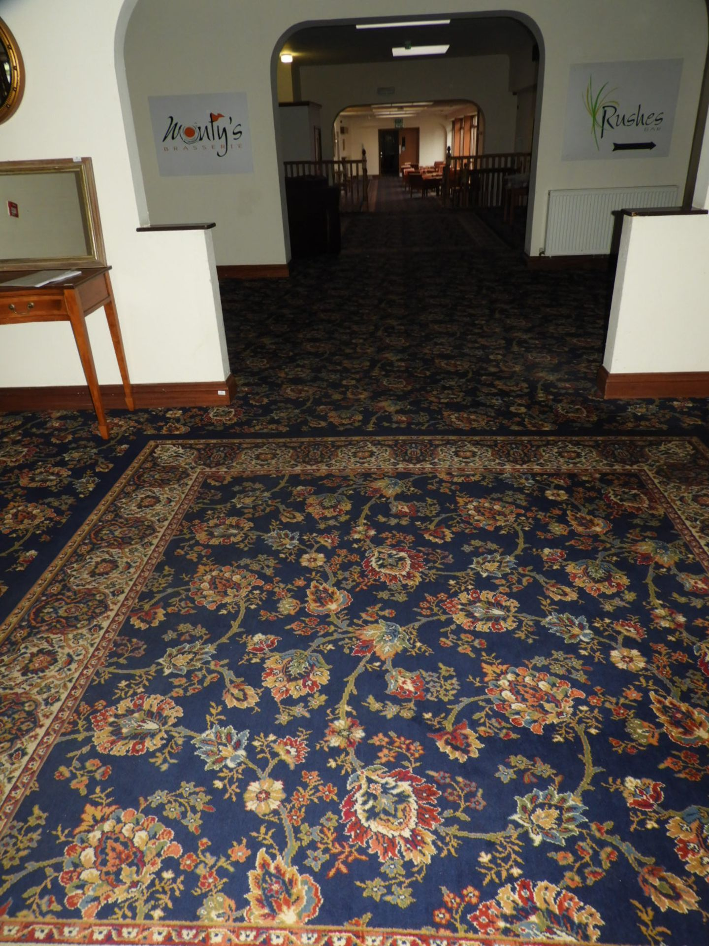 Lot 16 - *Traditional Patterned Blue Wilton Carpet (36m x 5