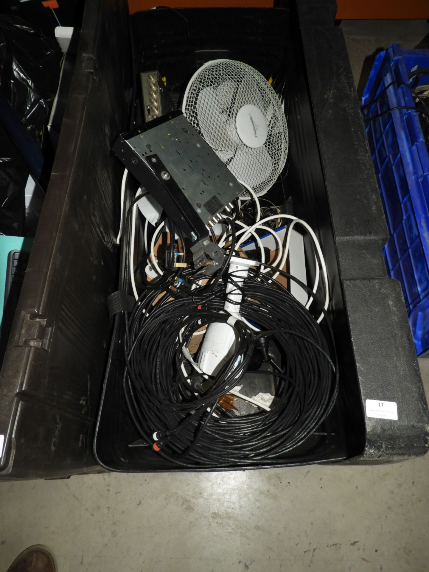 Lot 17 - *Box Containing CCTV Cameras, Desktop Fan, Coax Ca