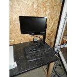 Lot 56 - Flatscreen Monitor, Two Keyboards, Mouse and a Bar