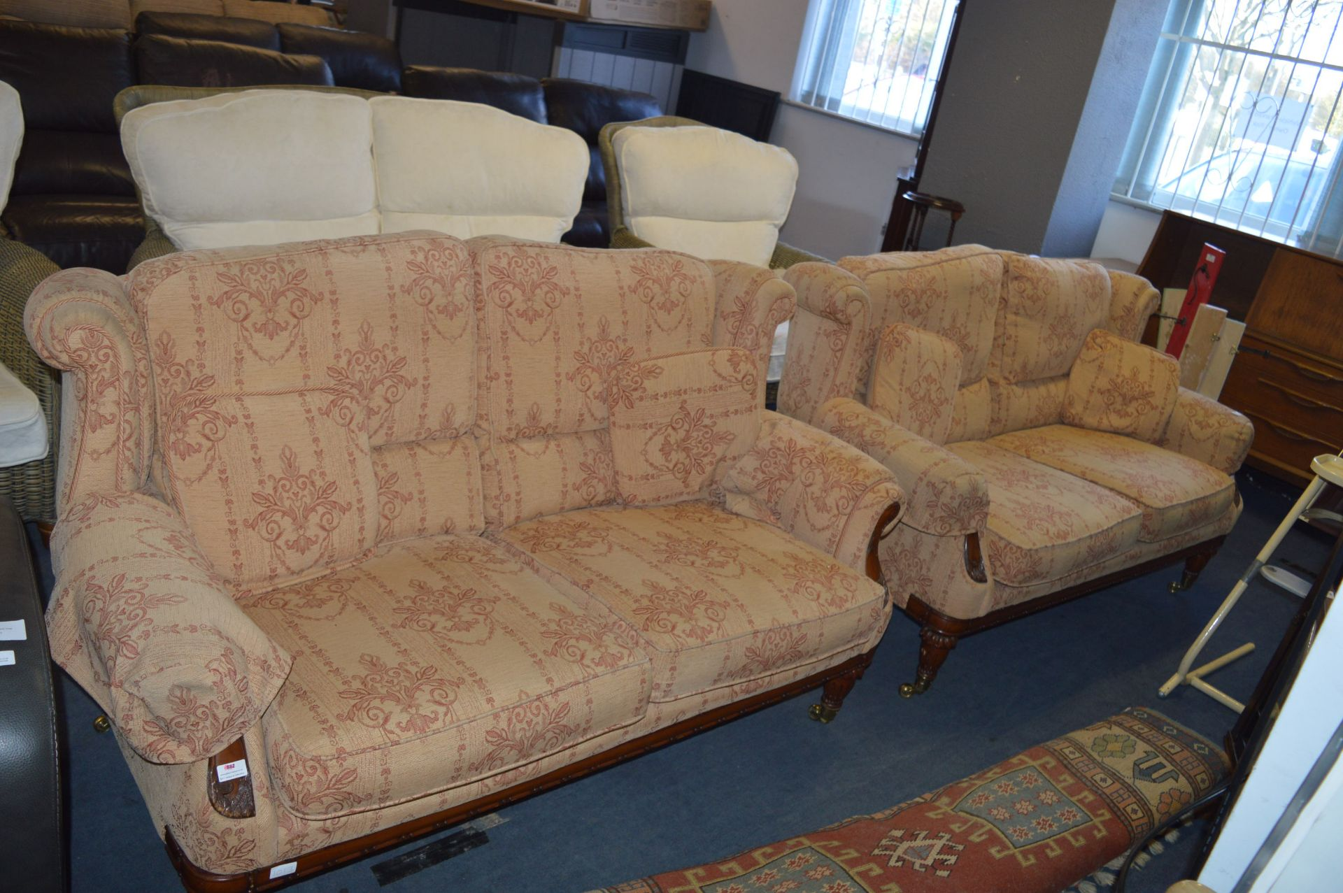 Lot 556 - Pair of Upholstered Two Seat Sofas