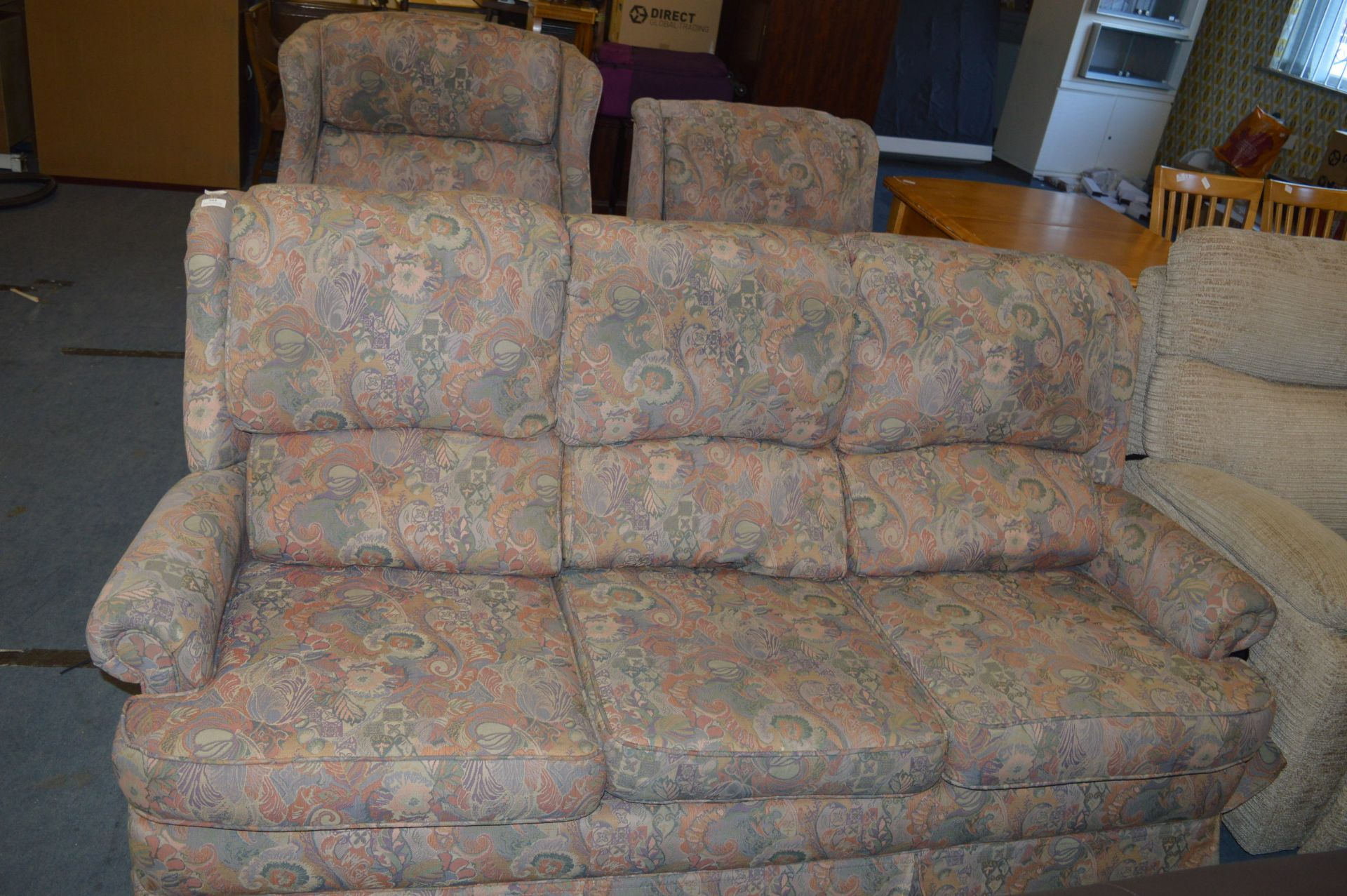 Lot 562 - Three Piece Floral Upholstered Suite; Three Seat Sofa and Two Armchairs