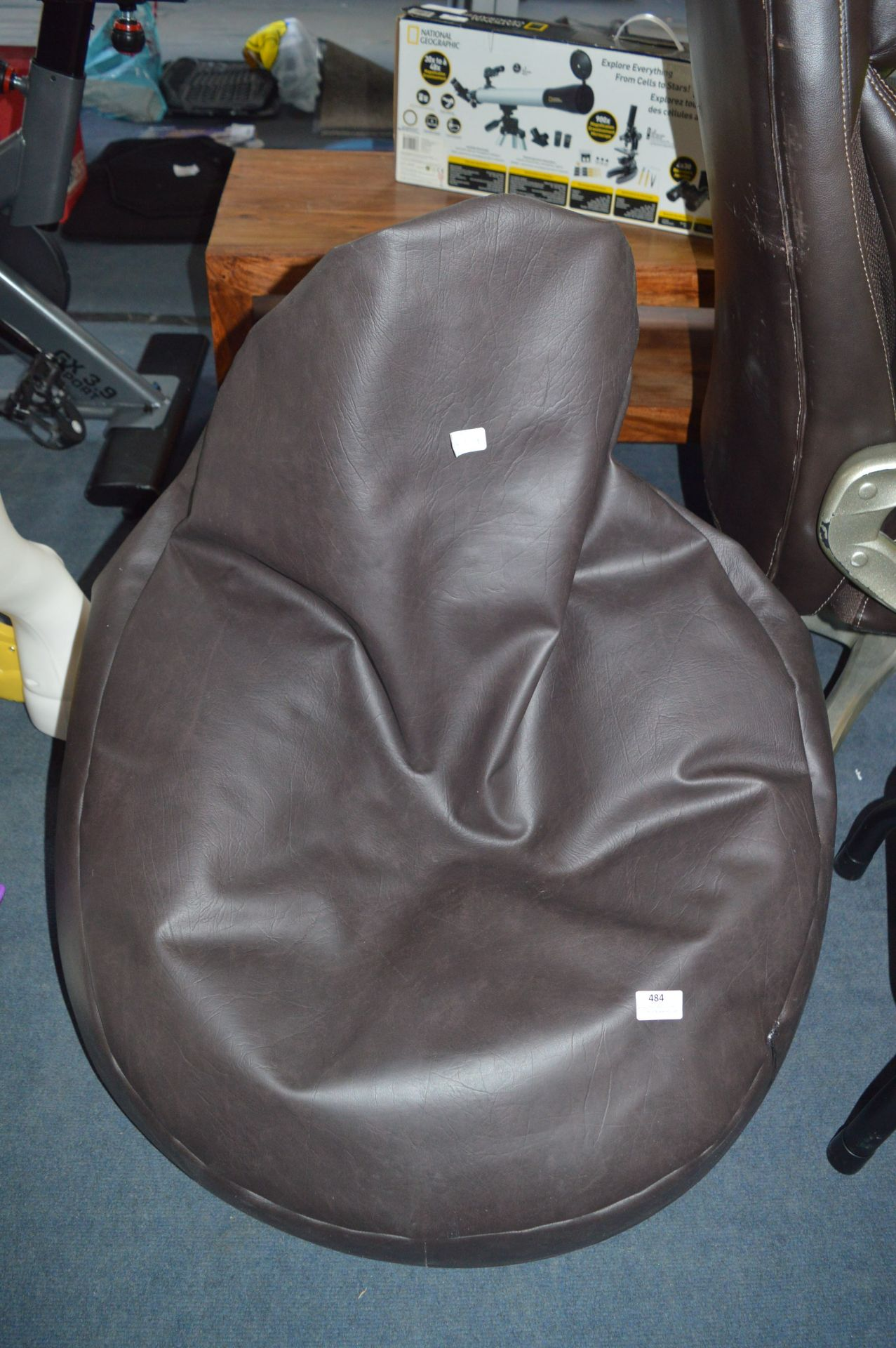 Lot 484 - Brown Leatherette Beanbag Chair