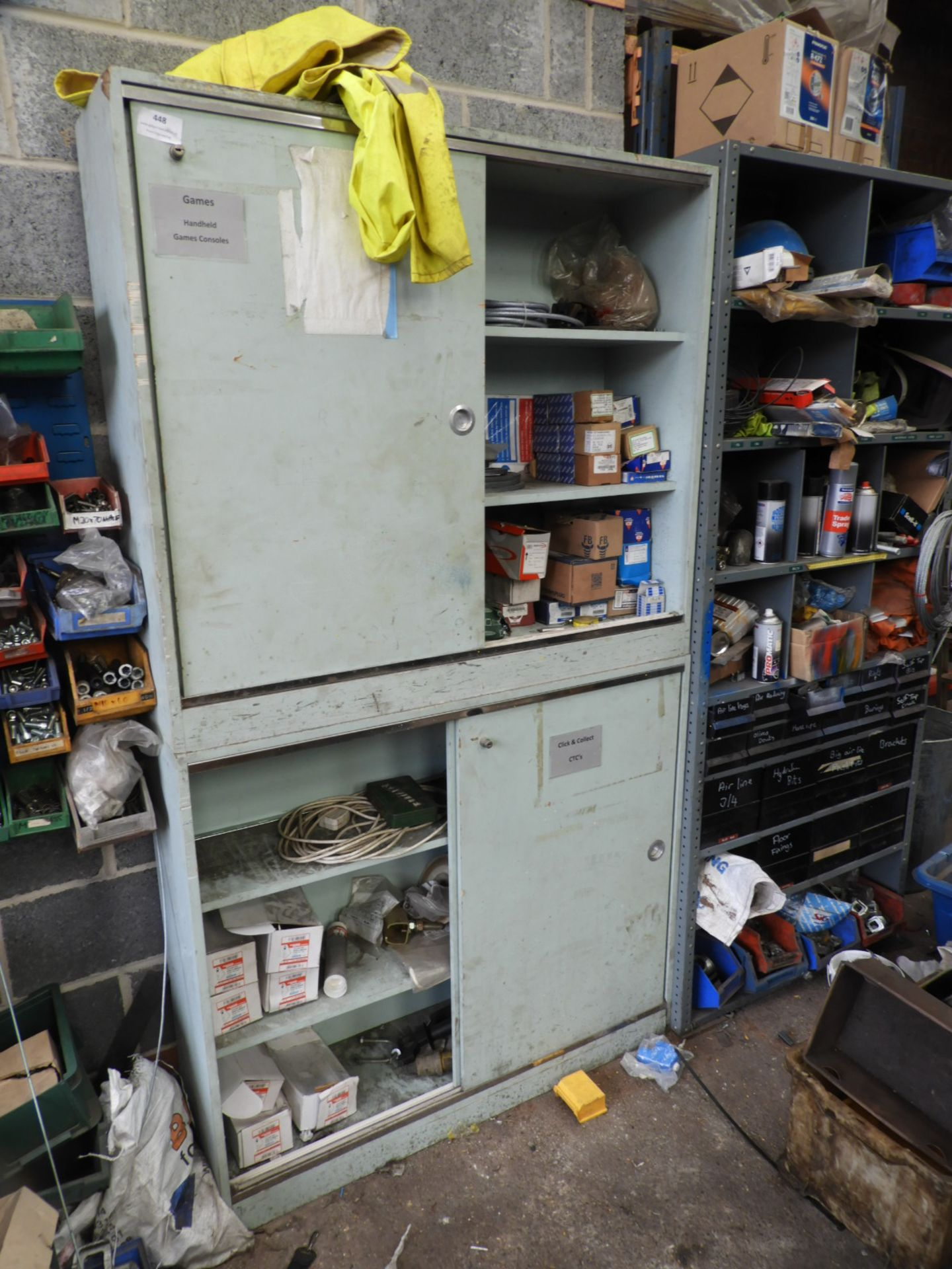 Lot 448 - *Pair of Wood Cupboard Containing Assorted Ironmon